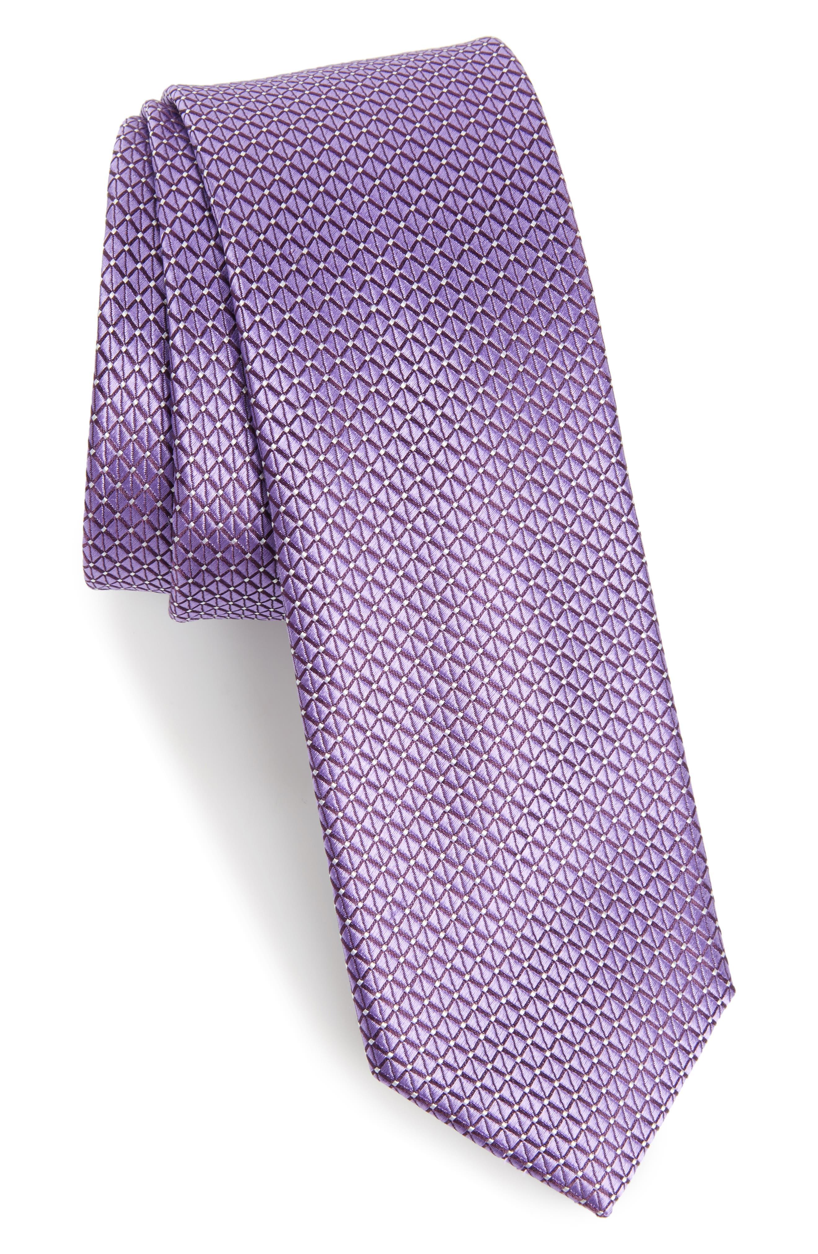 Nordstrom Men's Shop Hammond Neat Silk Tie,                             Main thumbnail 1, color,                             Purple