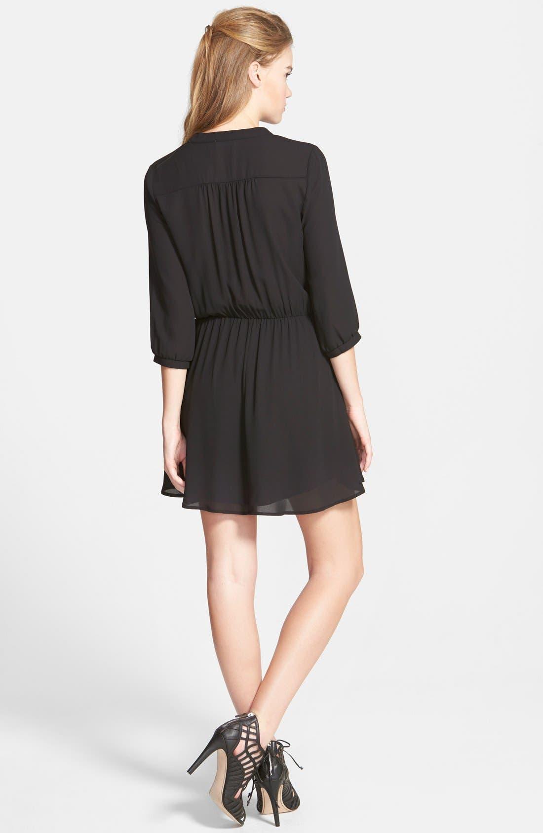 Kendal' Surplice Faux Wrap Dress,                             Alternate thumbnail 2, color,                             Black