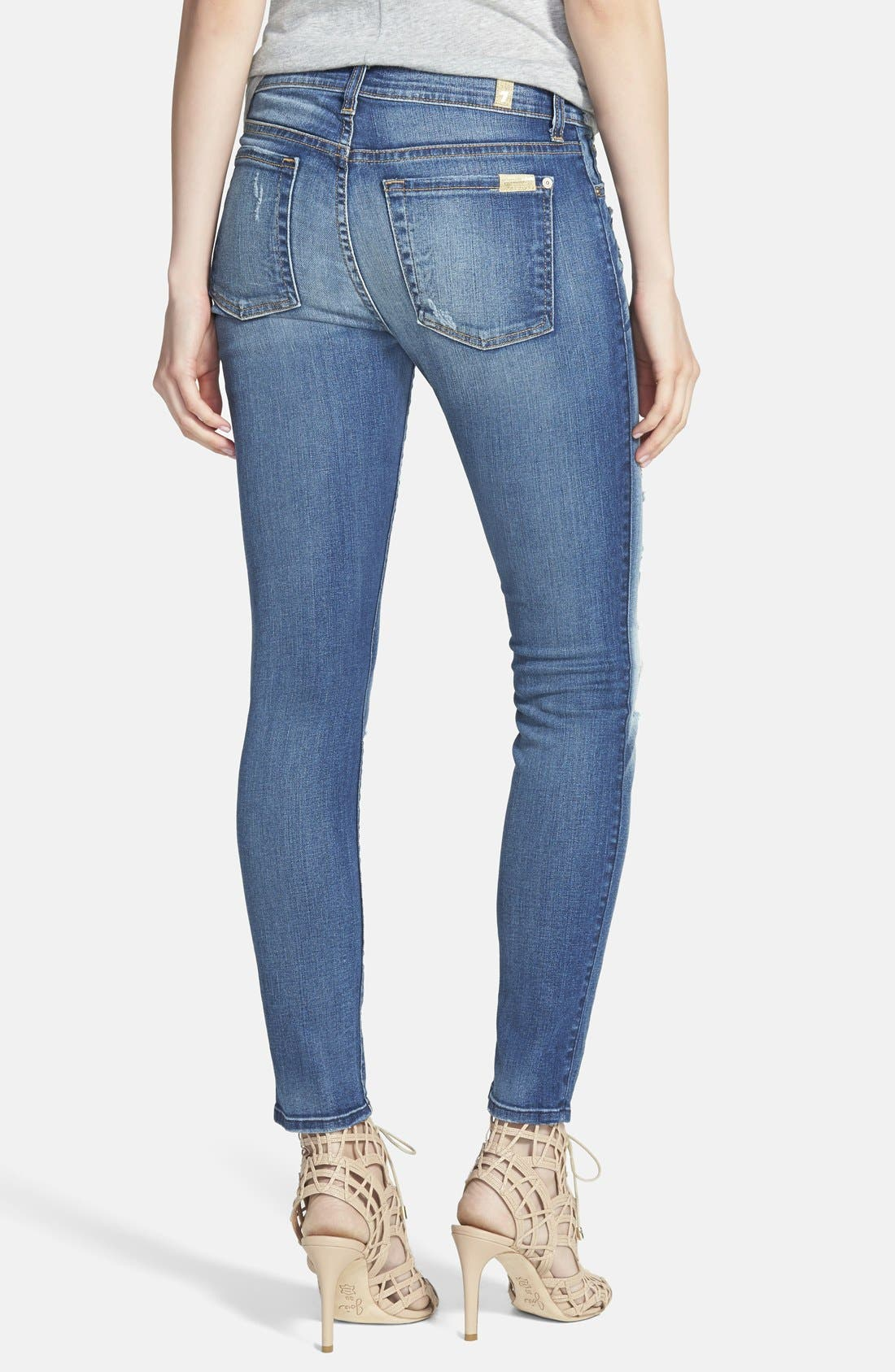 Alternate Image 2  - 7 For All Mankind® Ankle Skinny Jeans (Distressed Authentic Light)