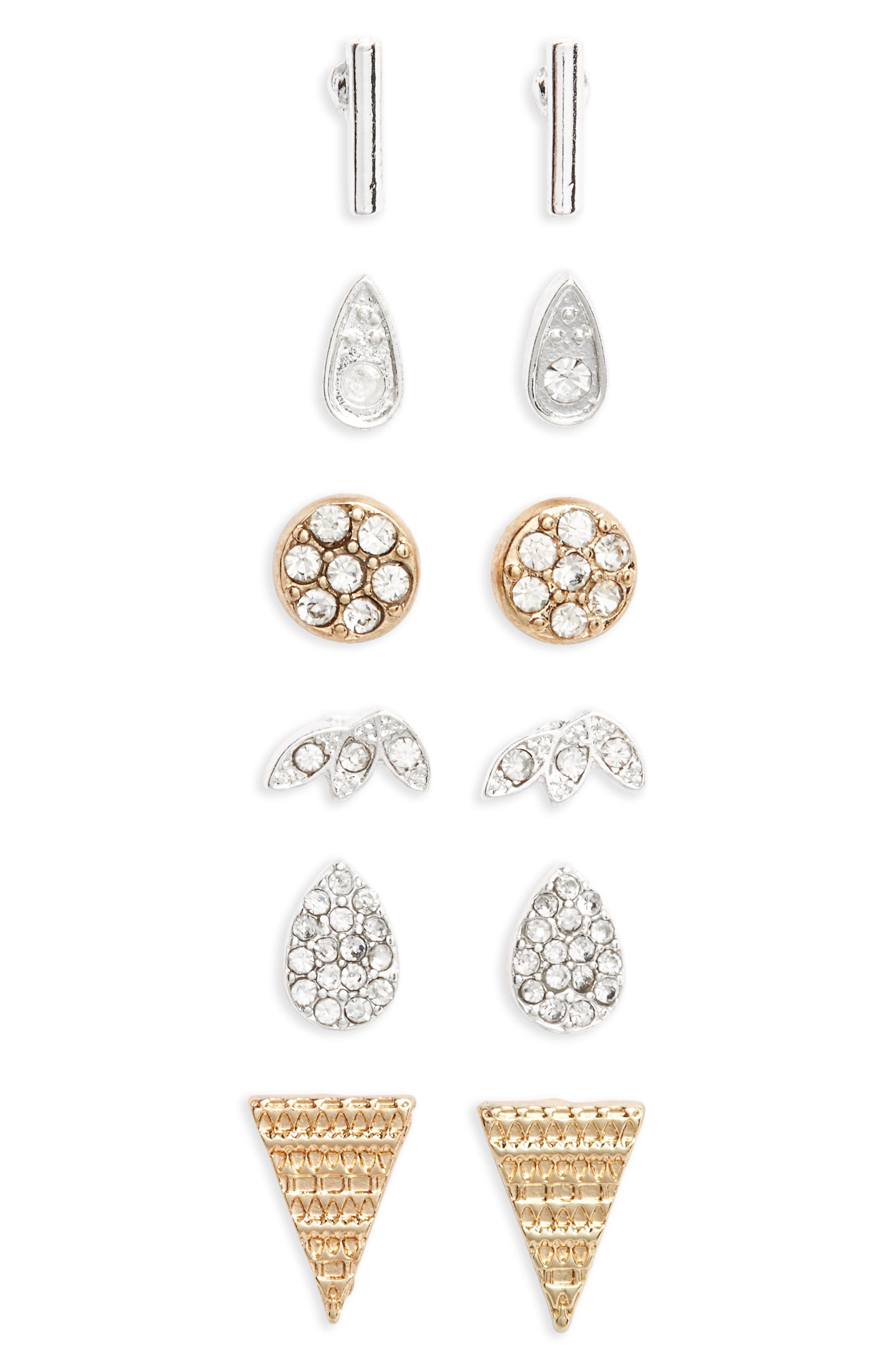 6-Pack Crystal Stud Earrings,                             Main thumbnail 1, color,                             Gold/ Silver
