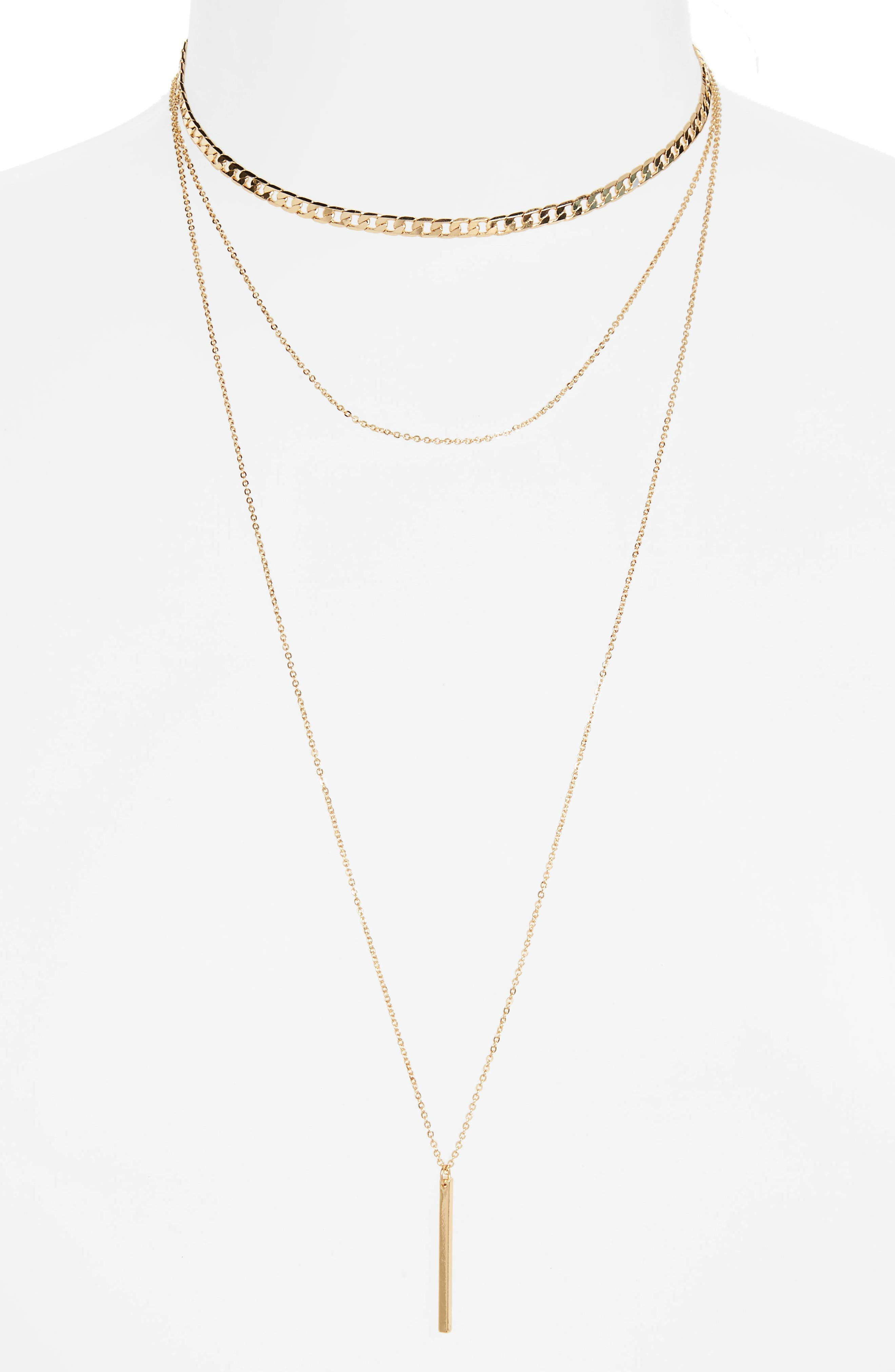 Layered Bar Charm Necklace,                         Main,                         color, Gold