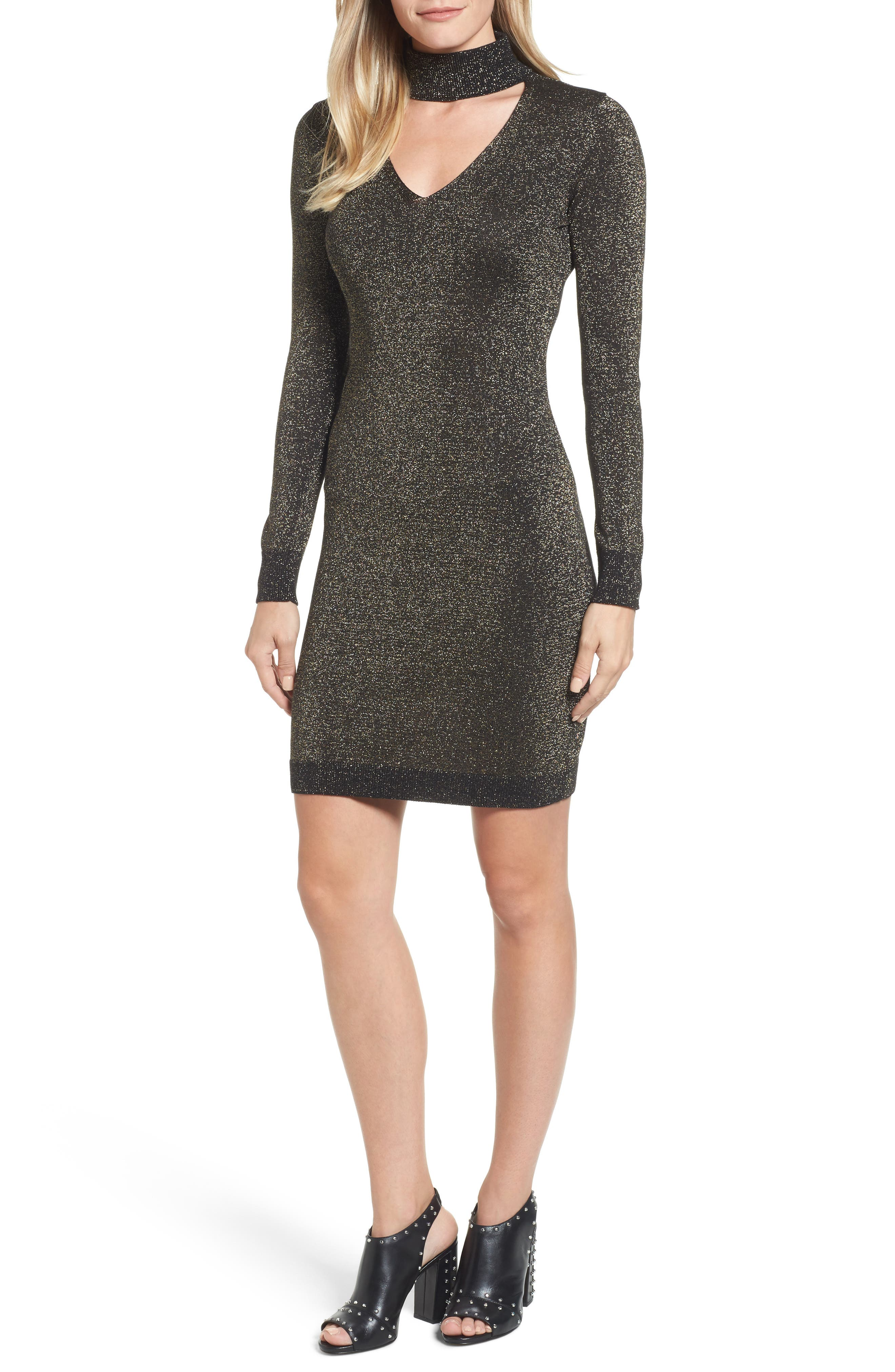 Choker Sweater Dress,                         Main,                         color, Black/ Gold