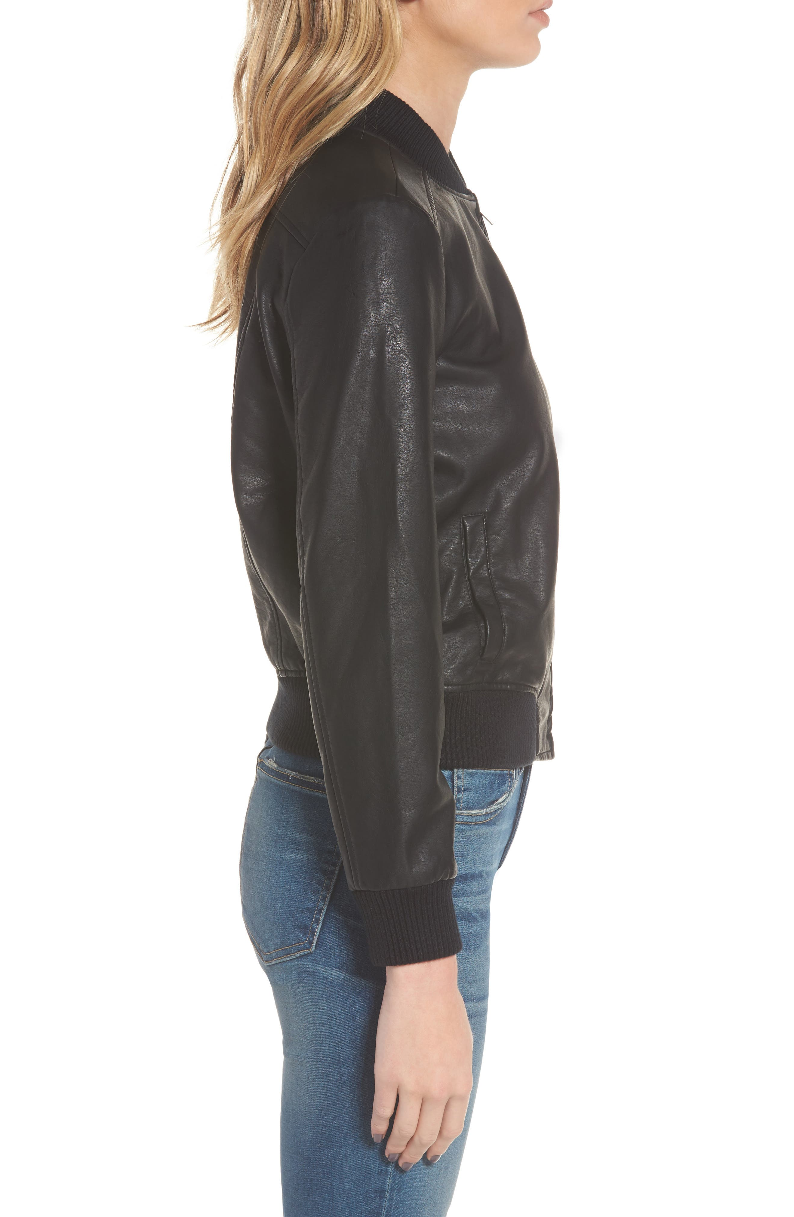 Gavin Faux Leather Bomber Jacket,                             Alternate thumbnail 3, color,                             Black