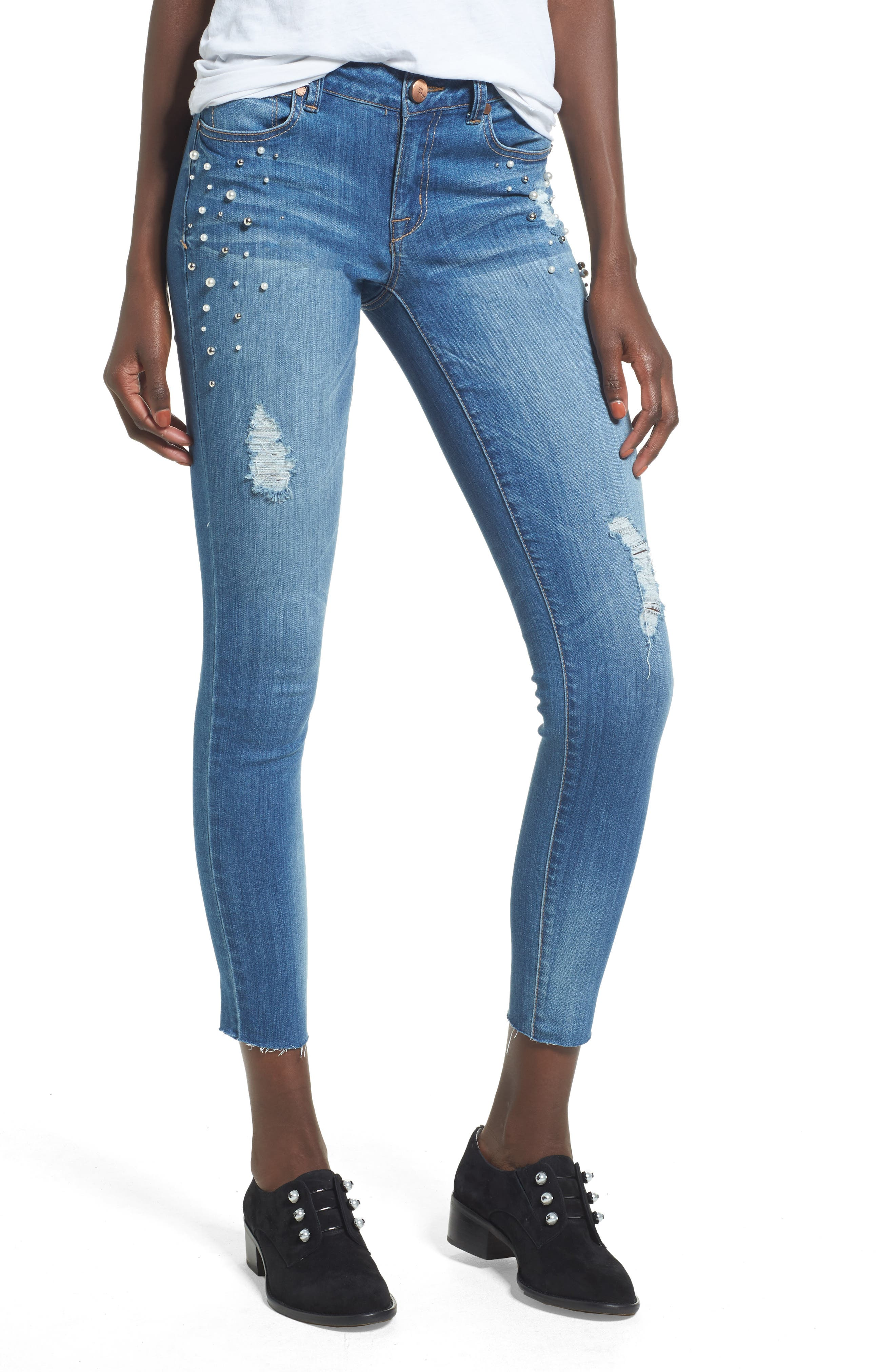 Pearl Detail Skinny Jeans,                         Main,                         color, Sally Blue