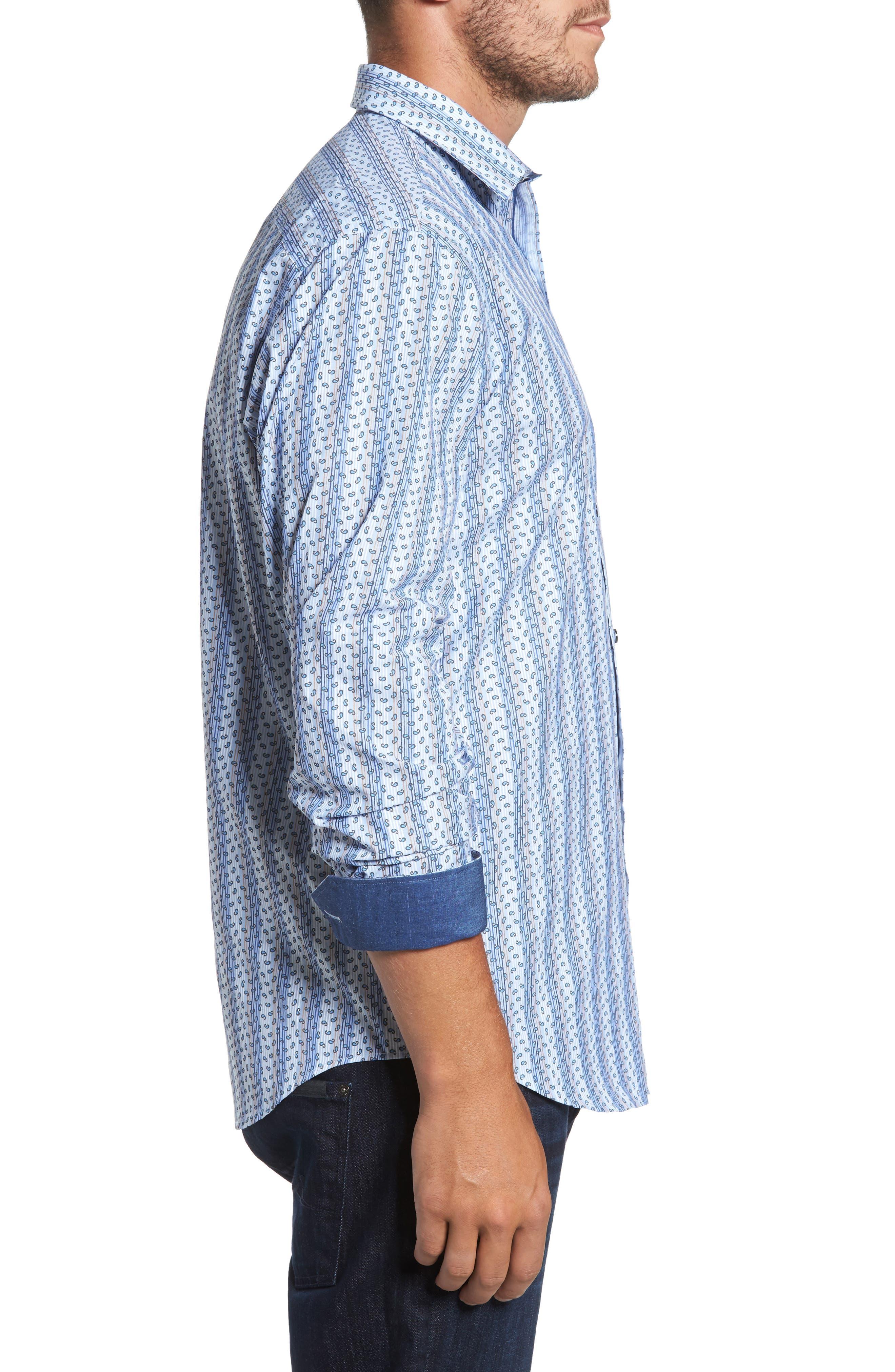 Classic Fit Paisley Striped Sport Shirt,                             Alternate thumbnail 3, color,                             Classic Blue