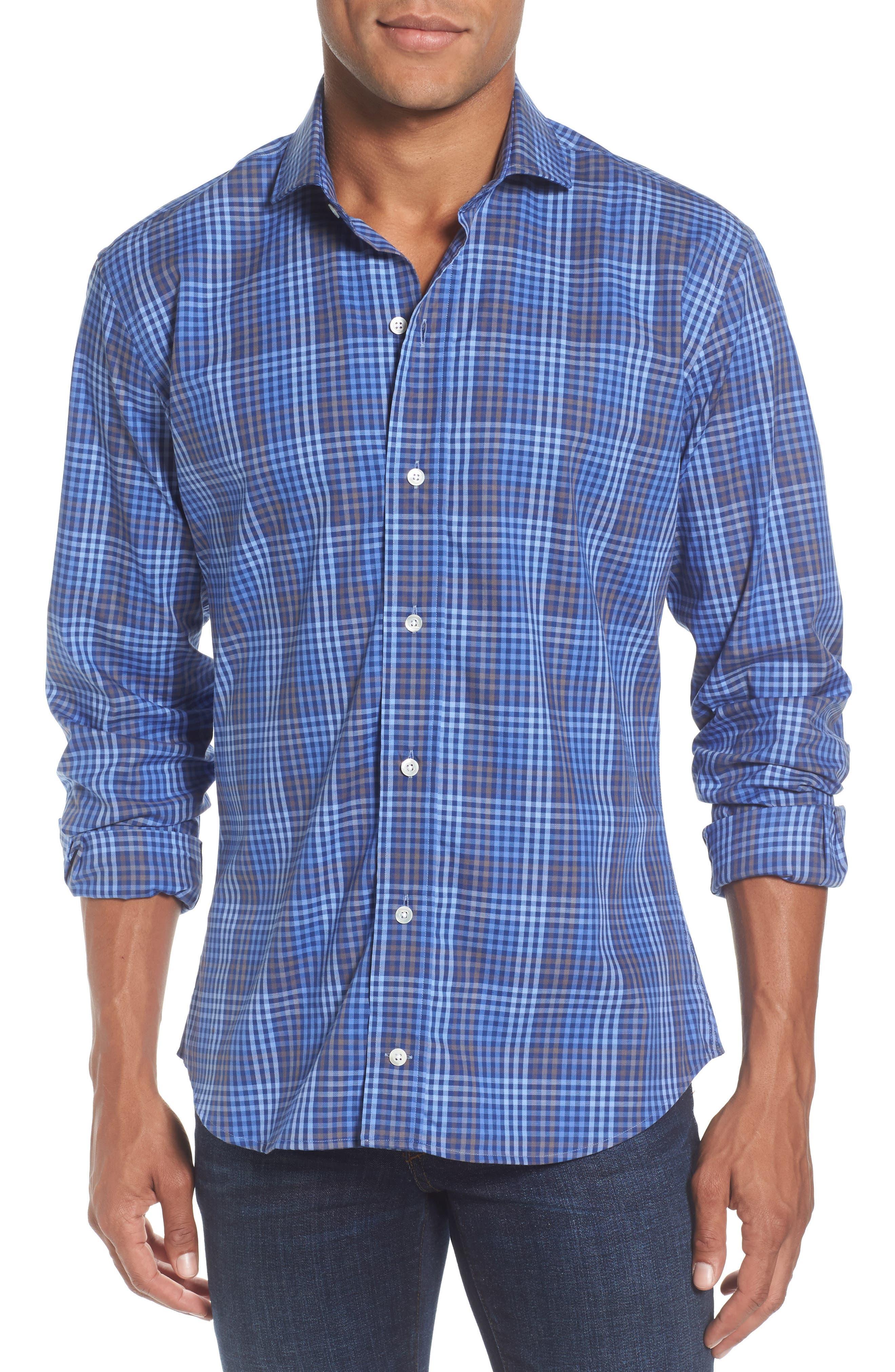 Alden Slim Fit Check Sport Shirt,                         Main,                         color, Blue