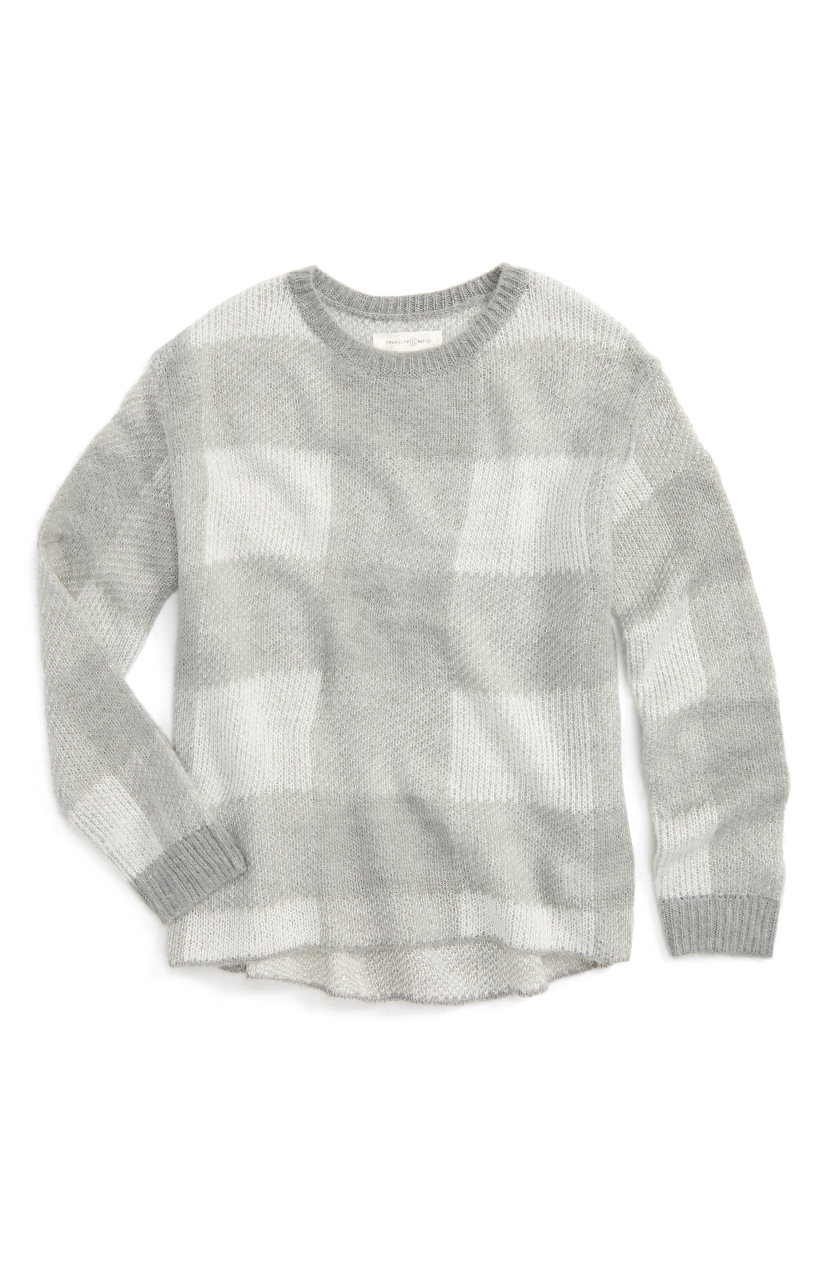 Treasure & Bond Check Brushed Knit Sweater (Big Girls)