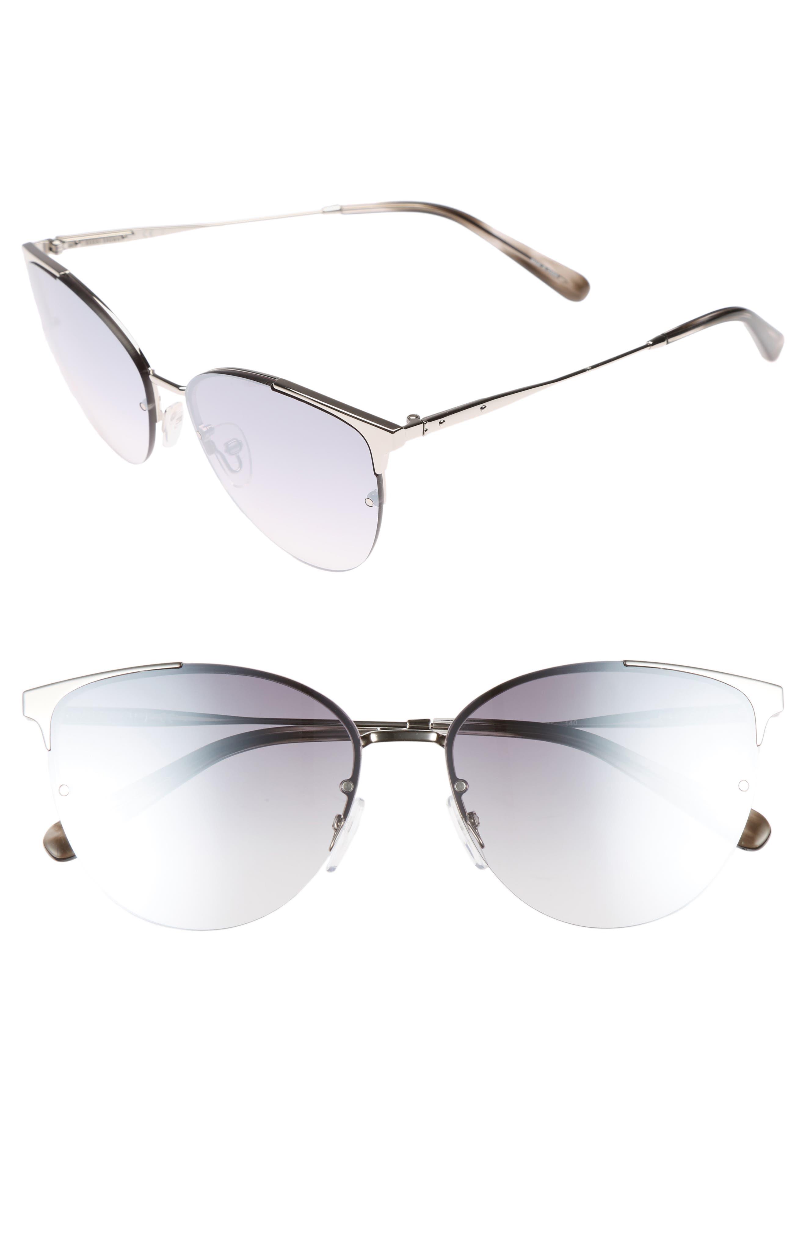 The Crystal 57mm Cat Eye Sunglasses,                         Main,                         color, Palladium