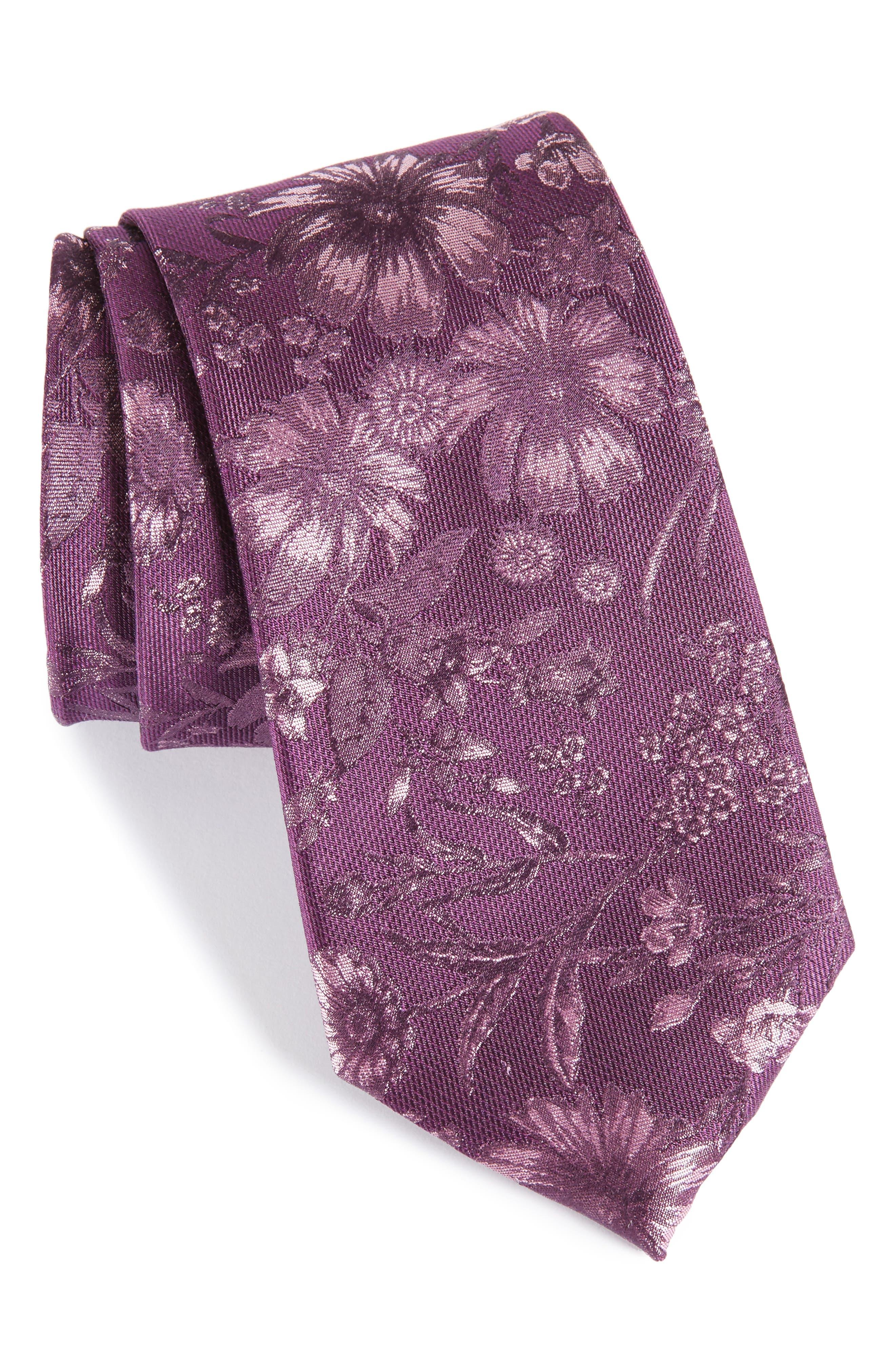 Fletcher Floral Print Silk & Cotton Tie,                             Main thumbnail 1, color,                             Purple