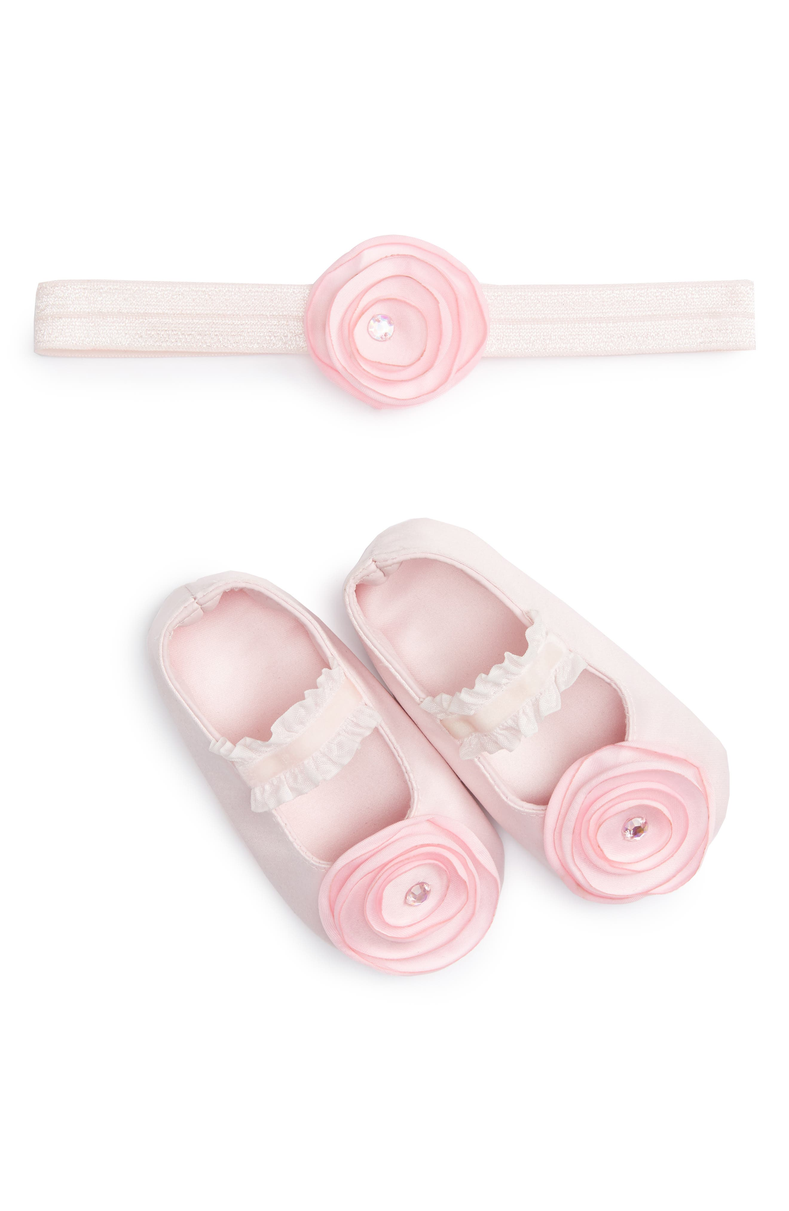 PLH Bows & Laces Crib Shoes & Headband Set (Baby Girls)