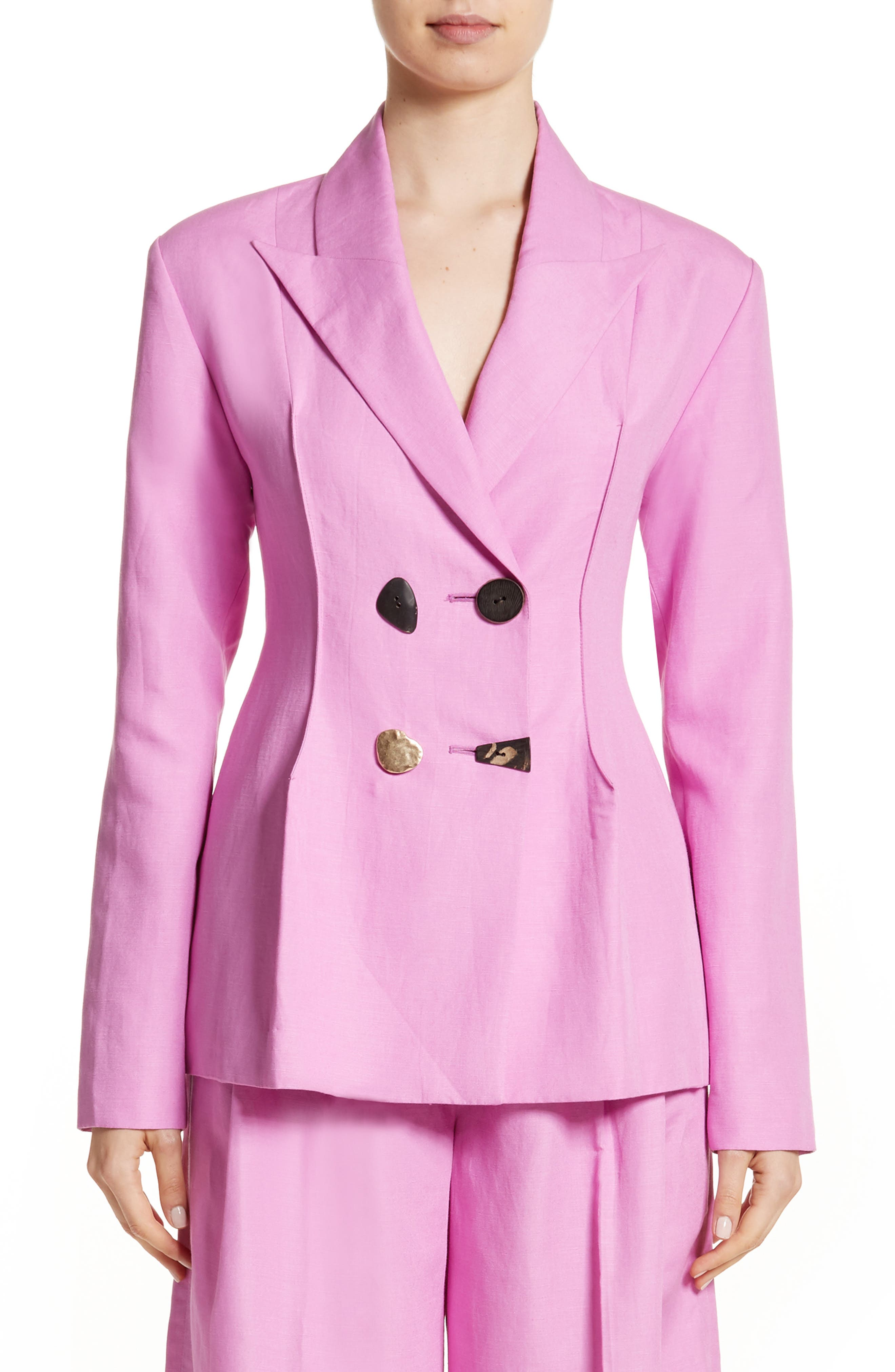 Double Breasted Jacket,                             Main thumbnail 1, color,                             Linen Taffy Pink