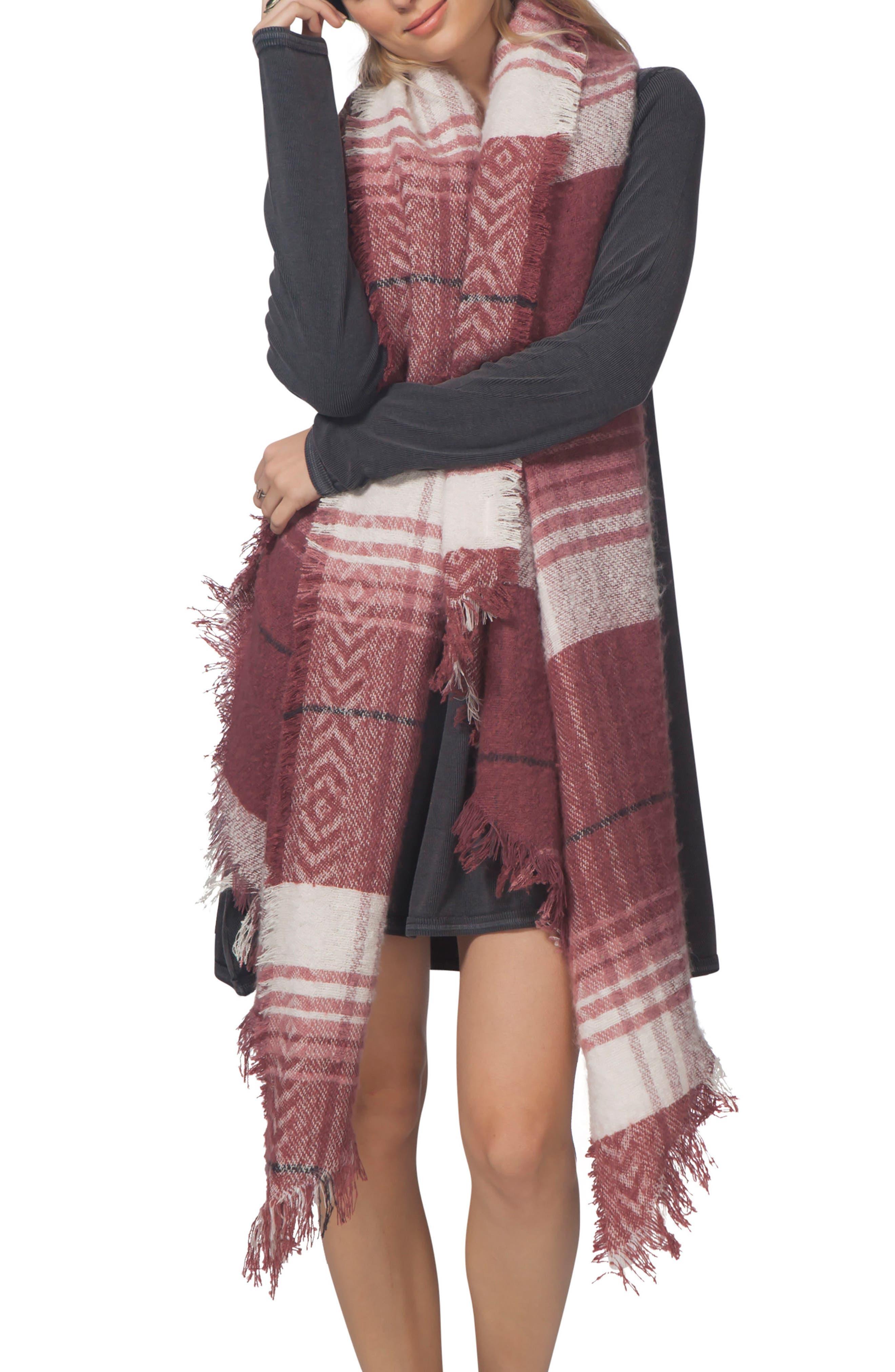 London Blanket Scarf,                         Main,                         color, Maroon