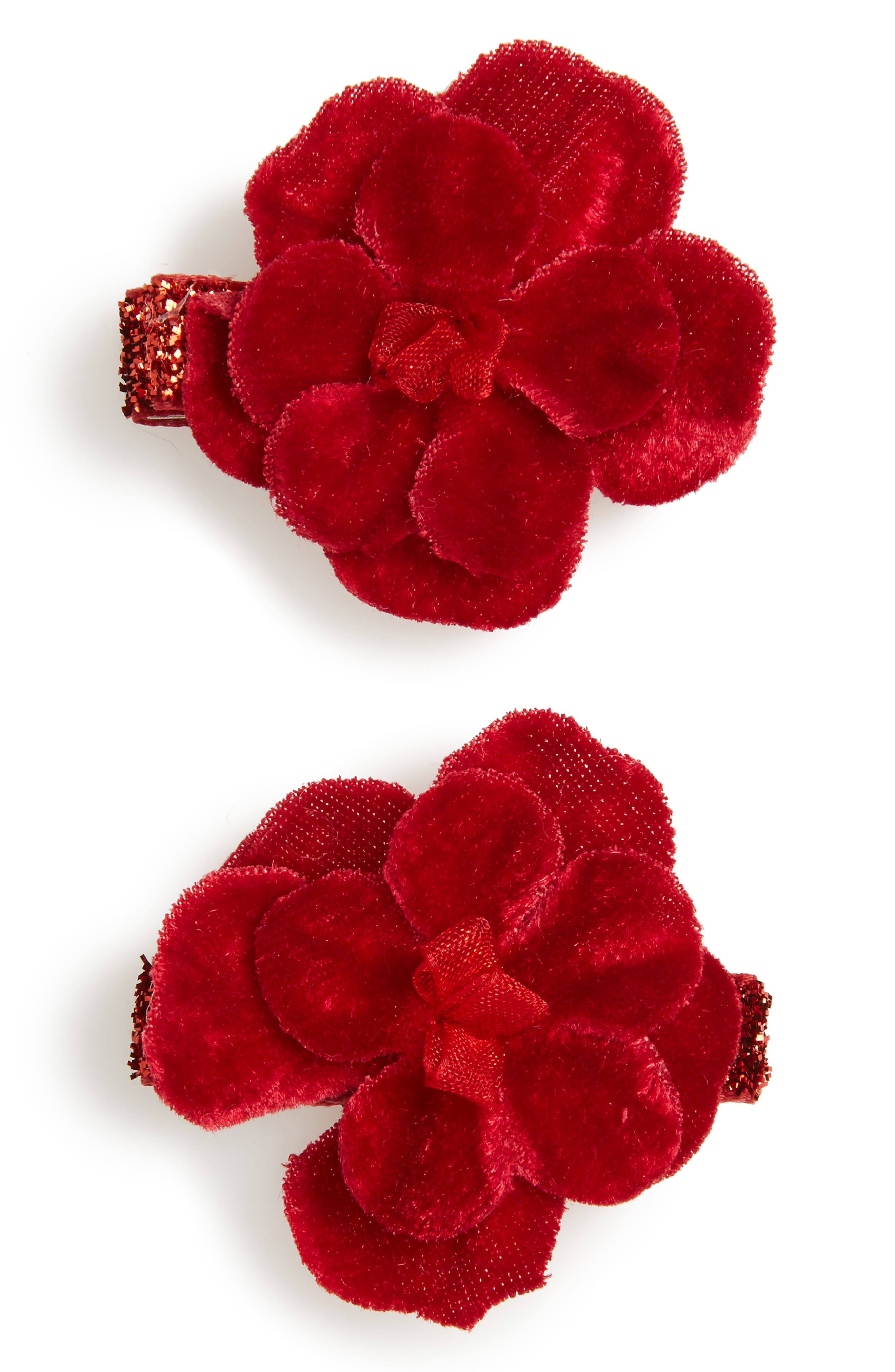 2-Pack Velvet Flower Clips,                             Main thumbnail 1, color,                             Red
