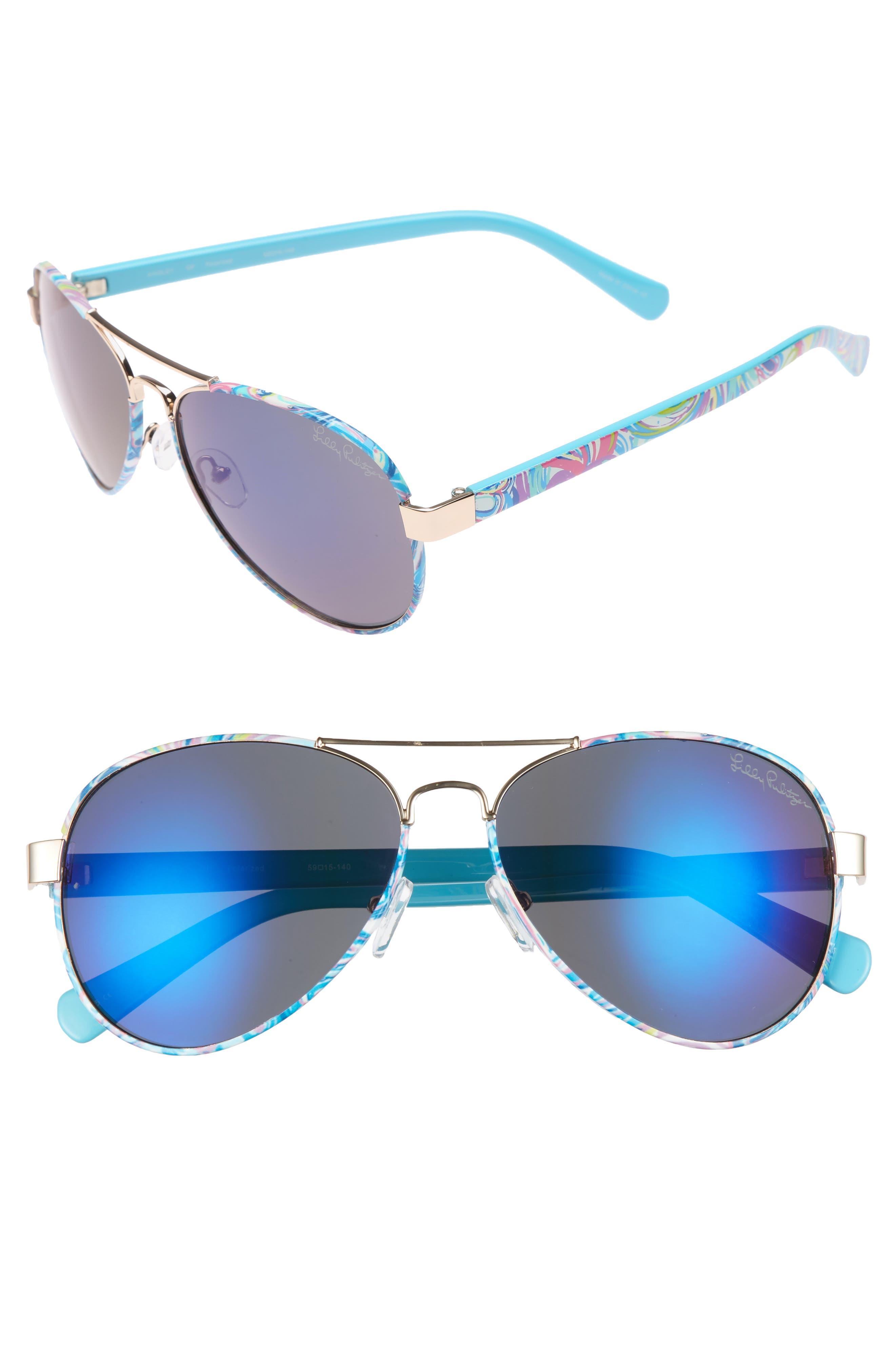 Main Image - Lilly Pulitzer® Ainsley 59mm Polarized Aviator Sunglasses