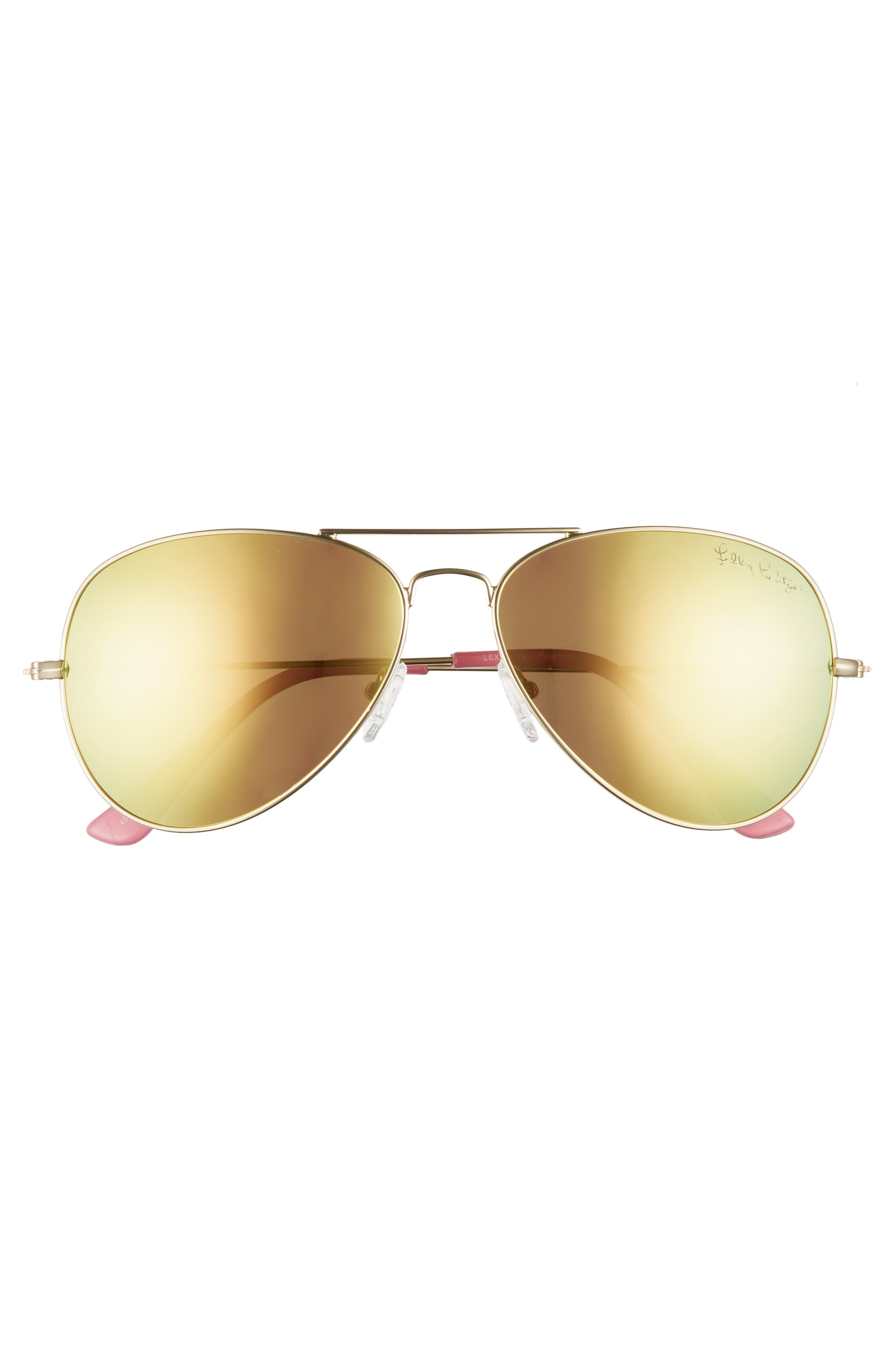 Lexy 59mm Polarized Aviator Sunglasses,                             Alternate thumbnail 3, color,                             Pink