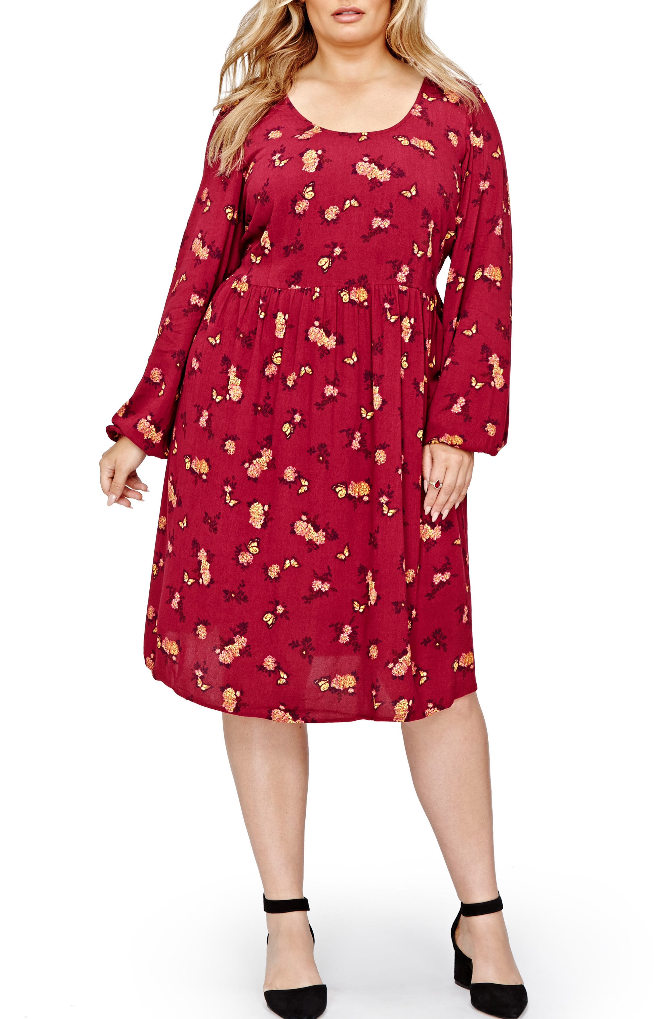 Alternate Image 1 Selected - ADDITION ELLE LOVE AND LEGEND Floral Swing Dress (Plus Size)