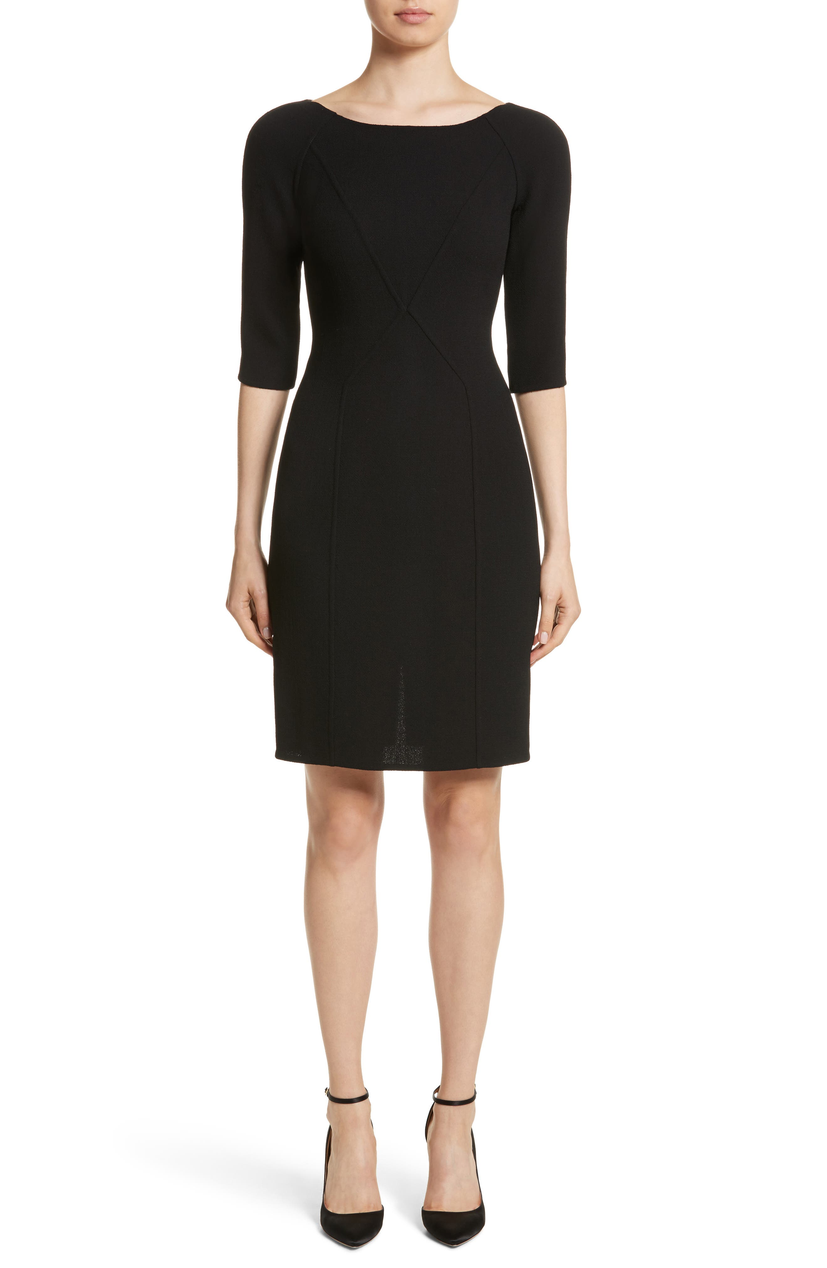 Carmen Marc Valvo Double Face Wool Crepe Sheath Dress,                         Main,                         color, Black