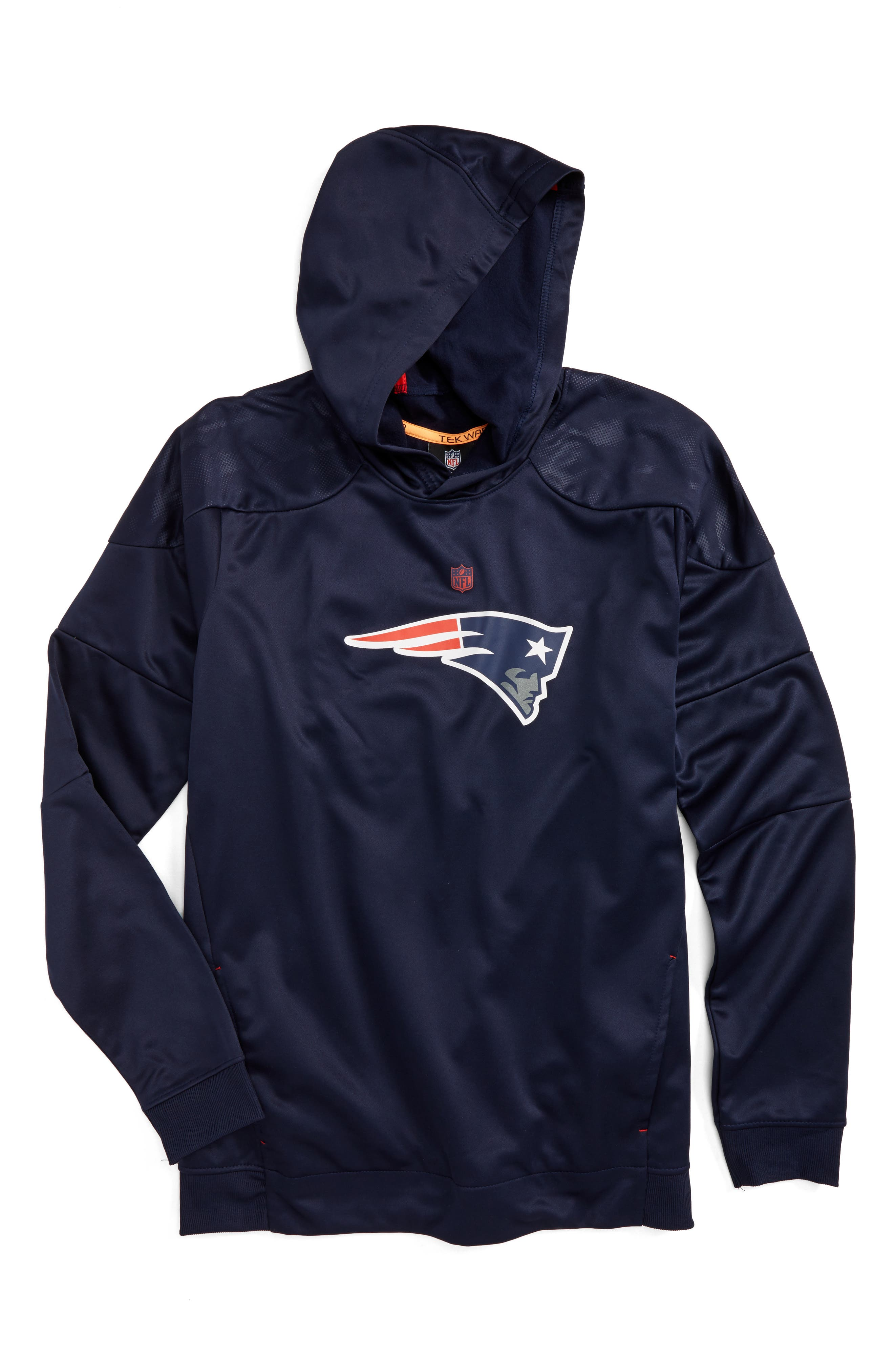 NFL New England Patriots Hoodie,                             Main thumbnail 1, color,                             Navy
