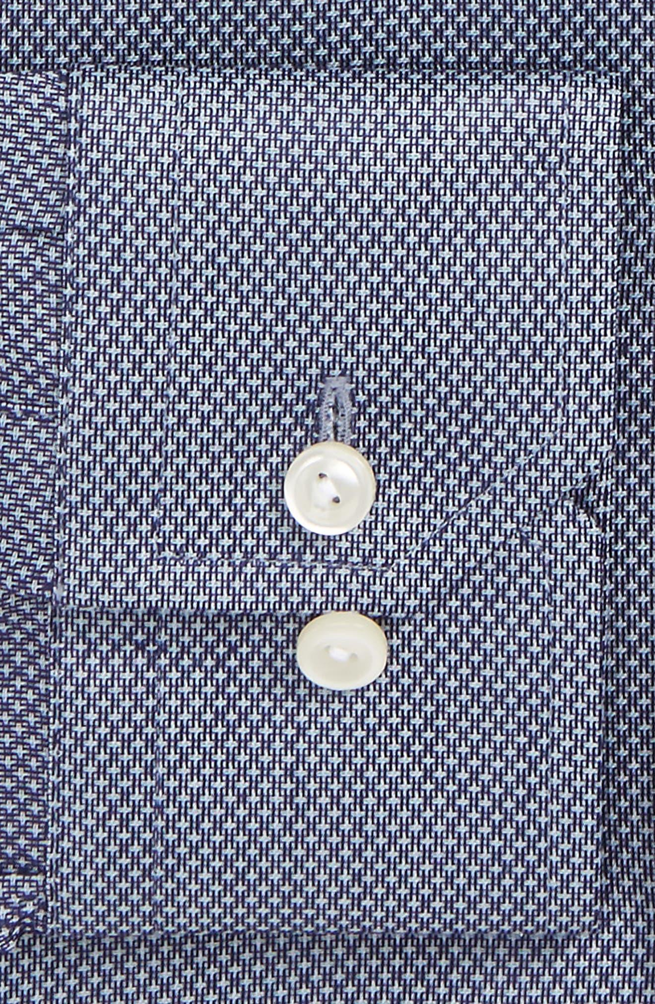 Slim Fit Microprint Dress Shirt,                             Alternate thumbnail 2, color,                             Navy