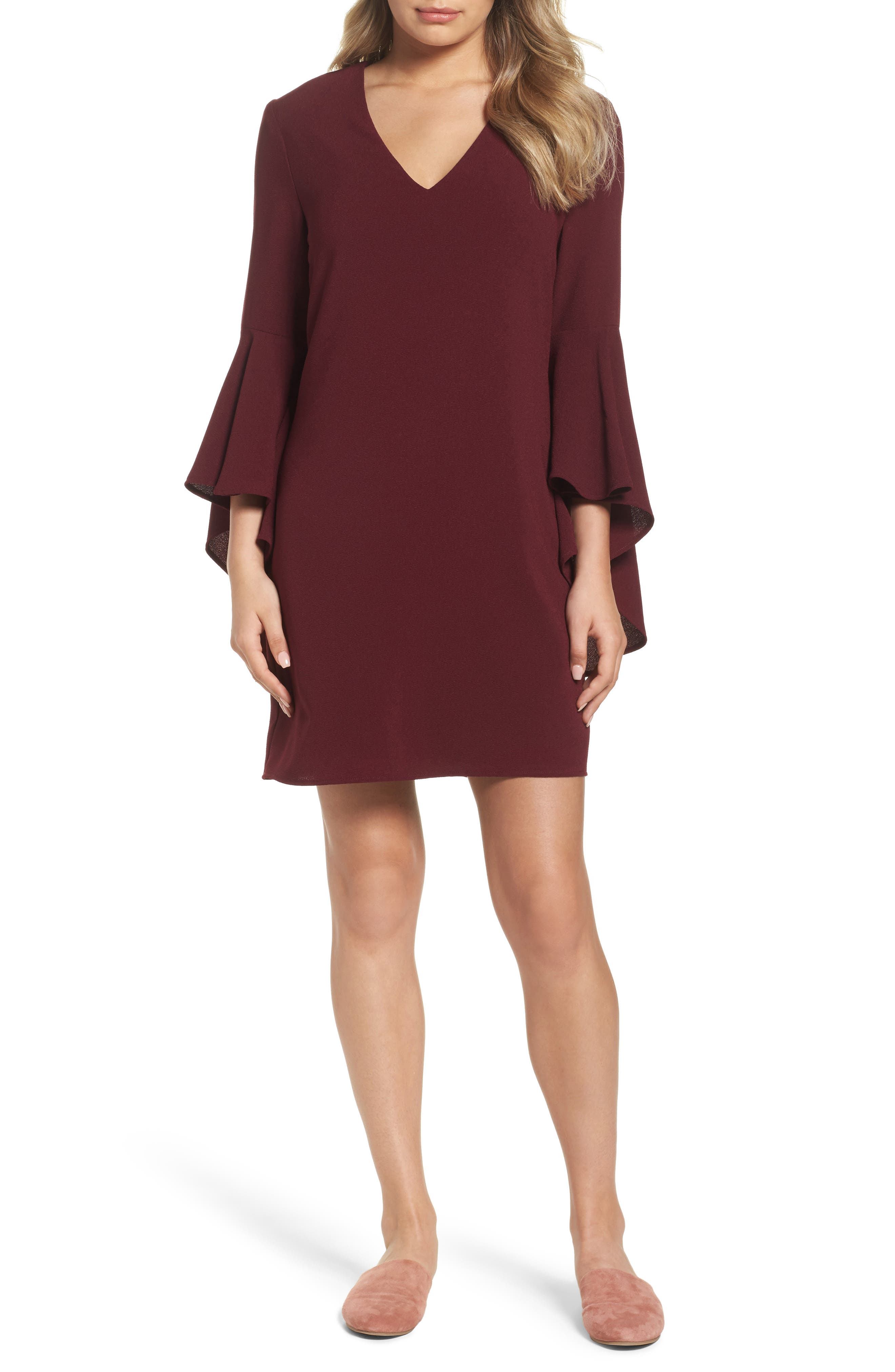 Bell Sleeve Shift Dress,                             Main thumbnail 1, color,                             Oxblood