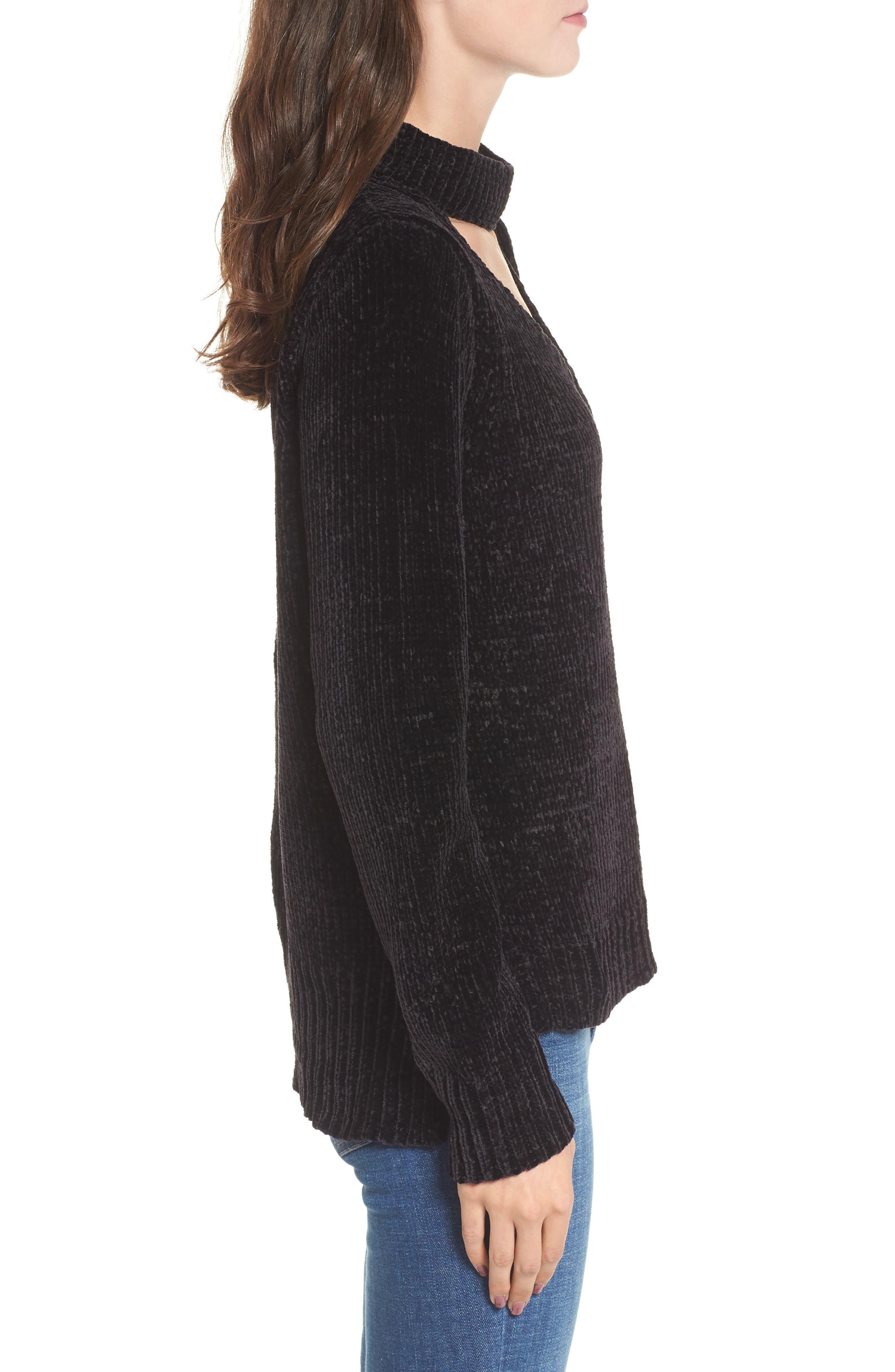Chenille Choker Neck Sweater,                             Alternate thumbnail 3, color,                             Black