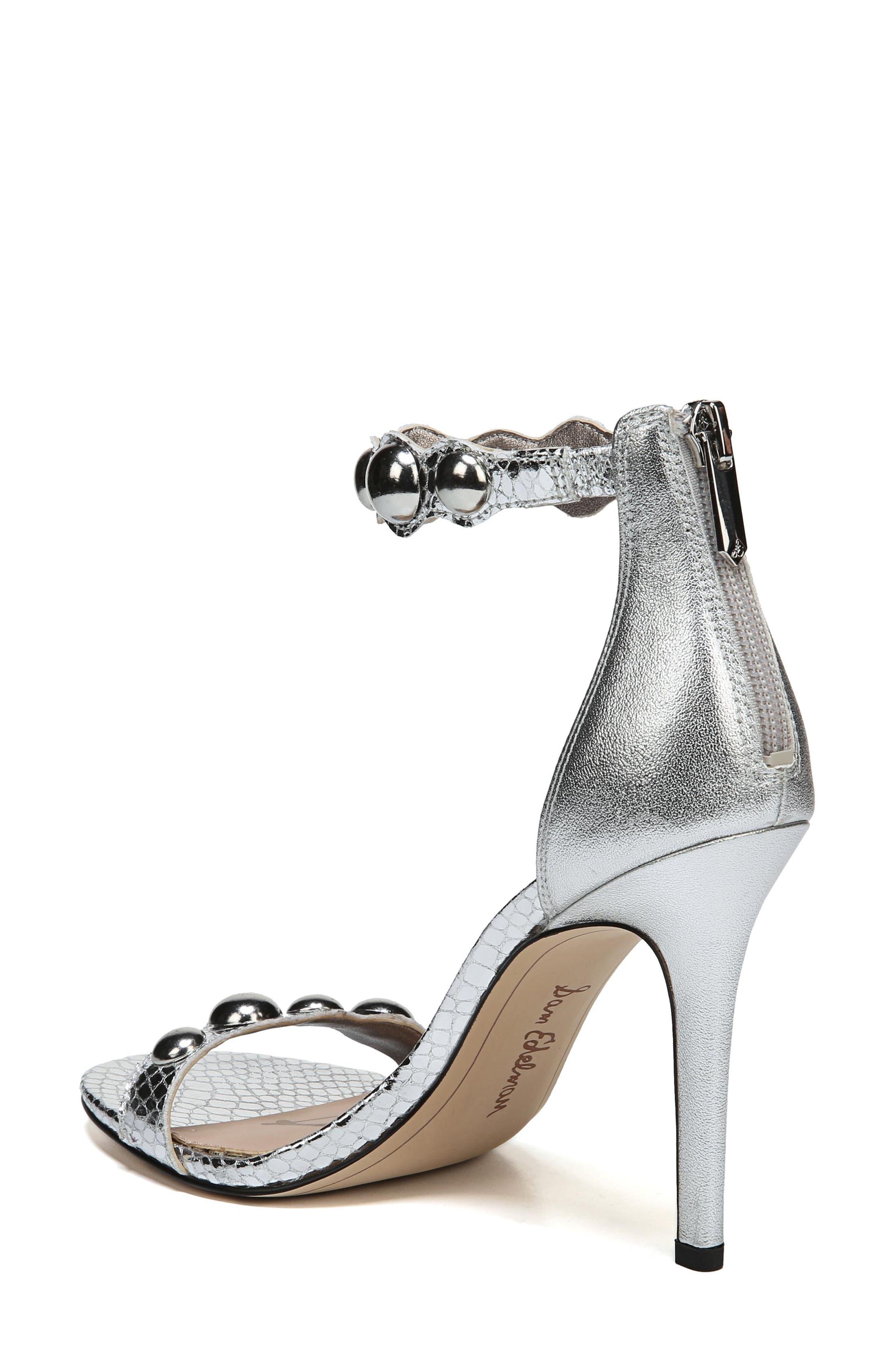 Sam Edelmen Addison Embellished Ankle Strap Sandal,                             Alternate thumbnail 2, color,                             Soft Silver