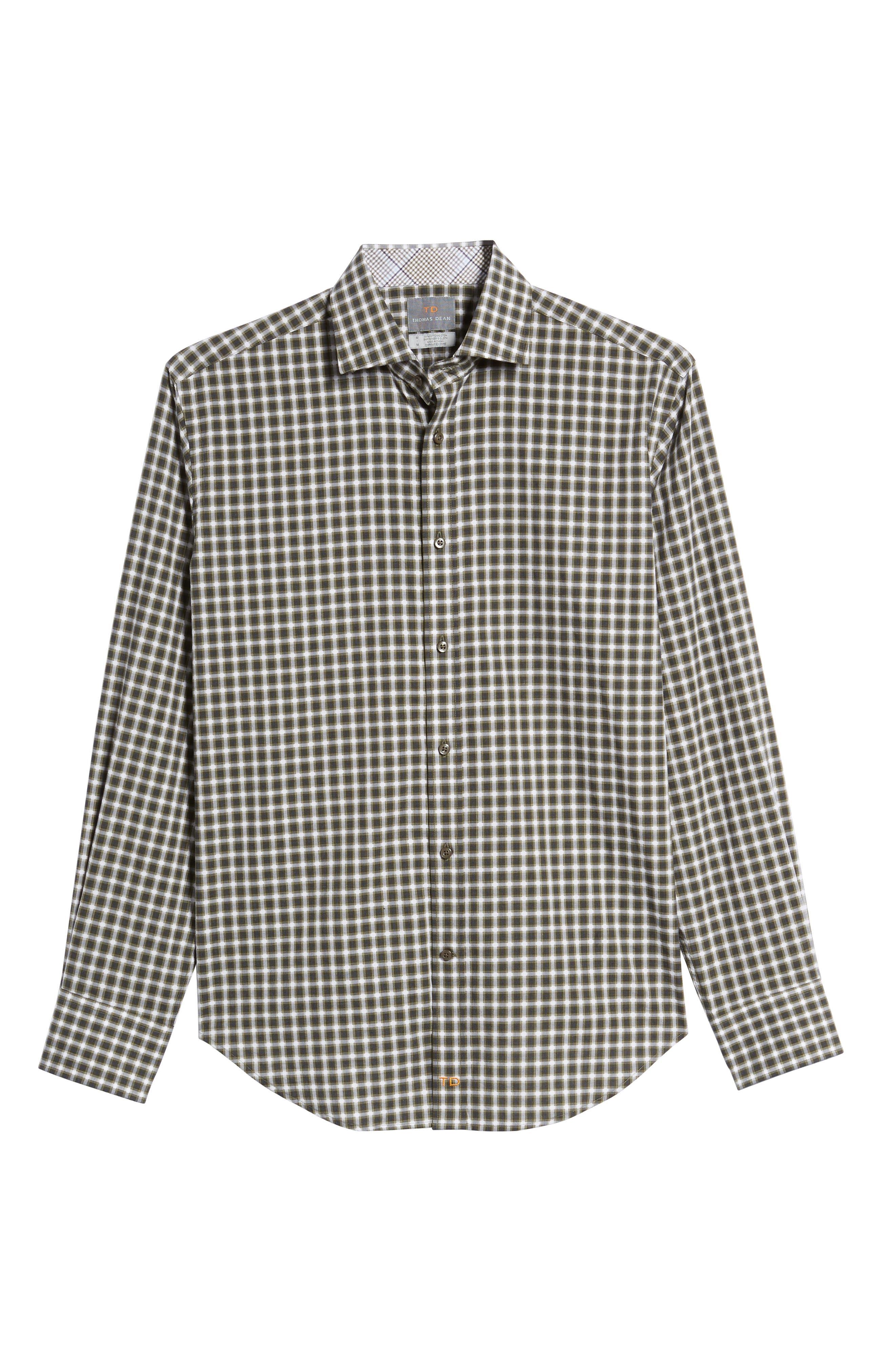 Regular Fit Gradient Check Sport Shirt,                             Alternate thumbnail 6, color,                             Green