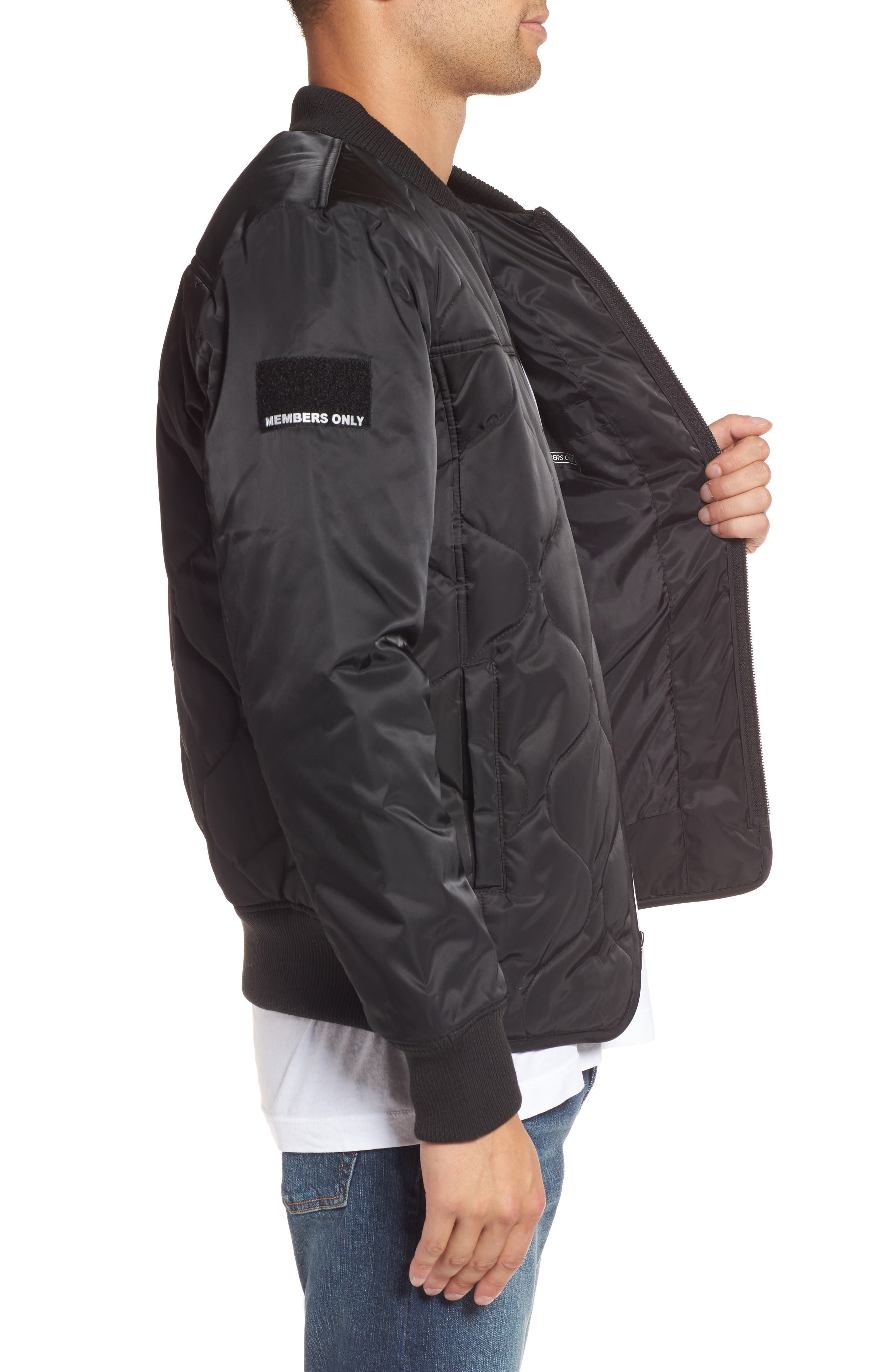 Quilted Bomber Jacket,                             Alternate thumbnail 3, color,                             Black