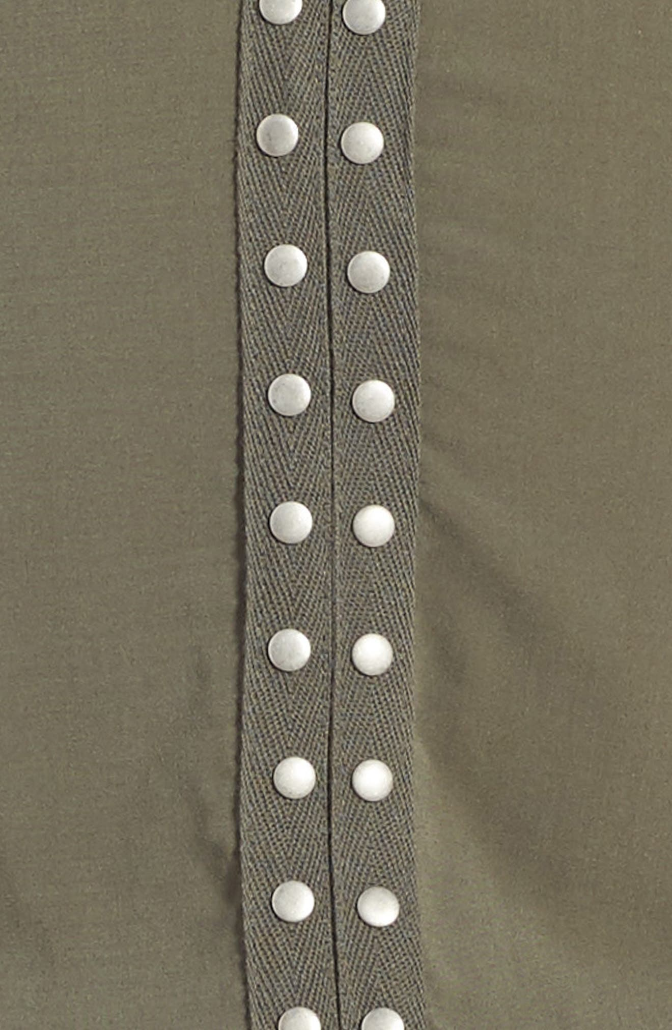 Grommet Cold Shoulder Dress,                             Alternate thumbnail 3, color,                             Olive Green