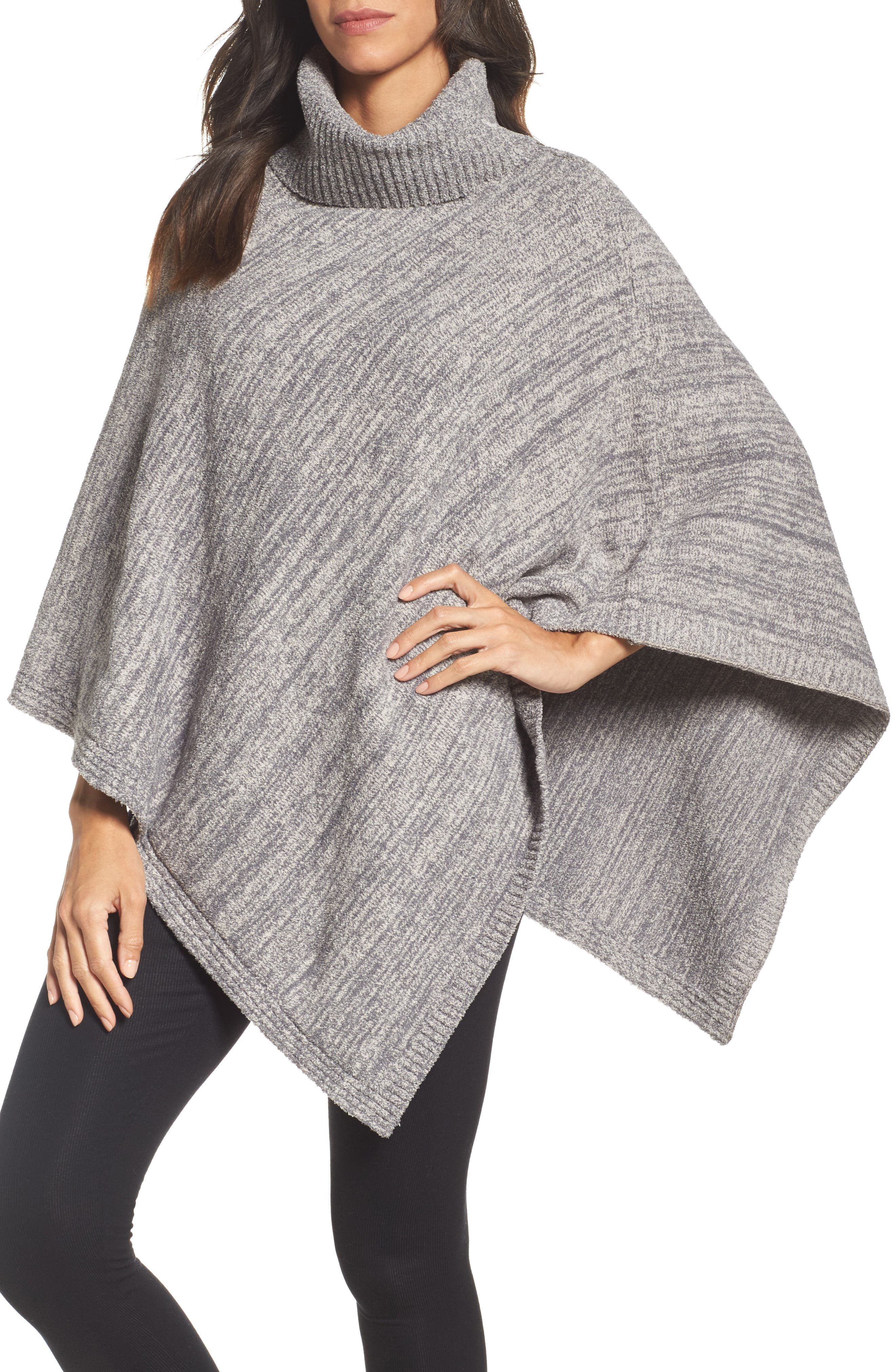 Cozychic<sup>®</sup> Point Dume Poncho,                             Main thumbnail 1, color,                             Graphite/ Stone Heathered