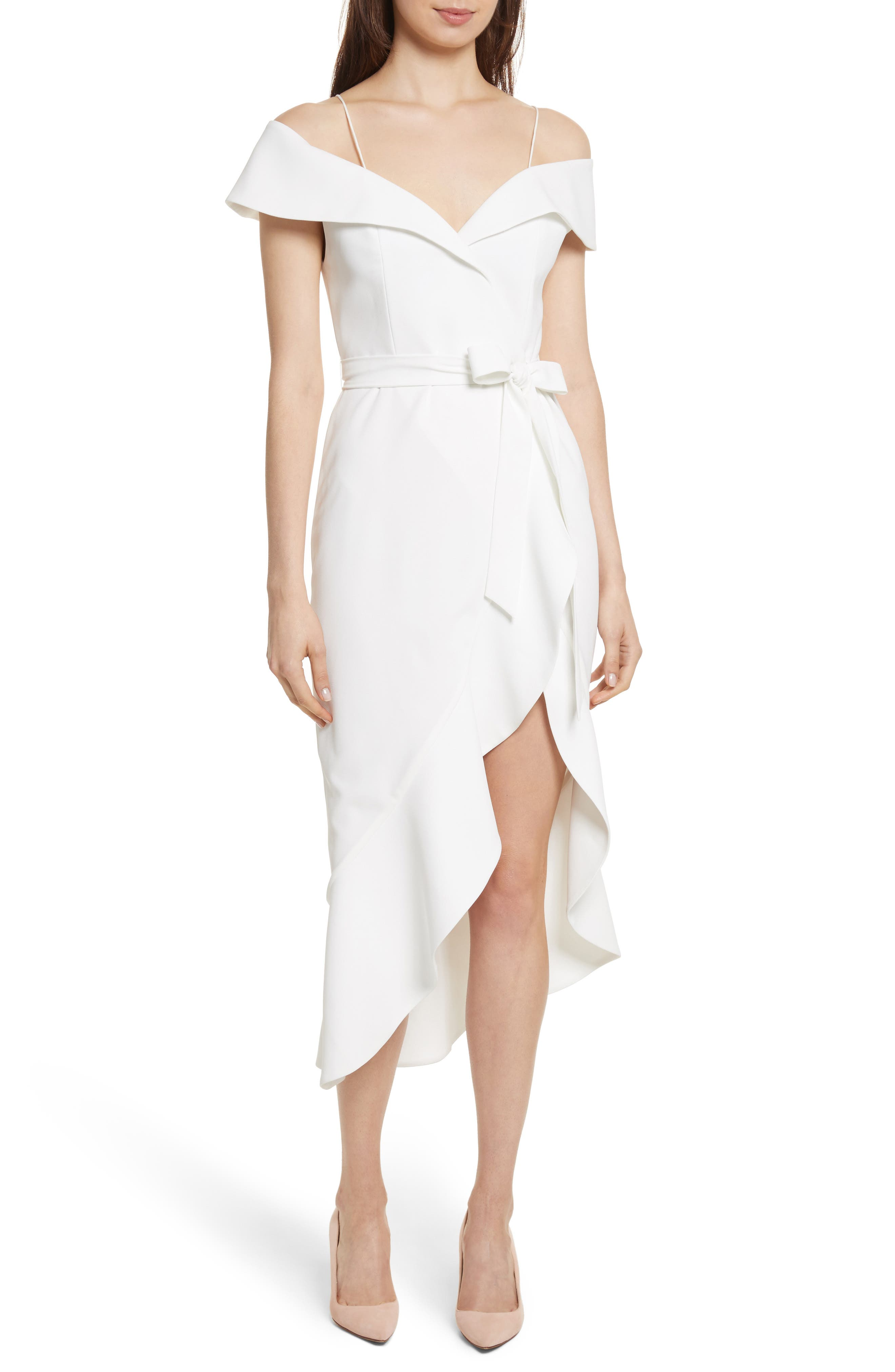 Josie Off the Shoulder Ruffle Wrap Dress,                         Main,                         color, Off White