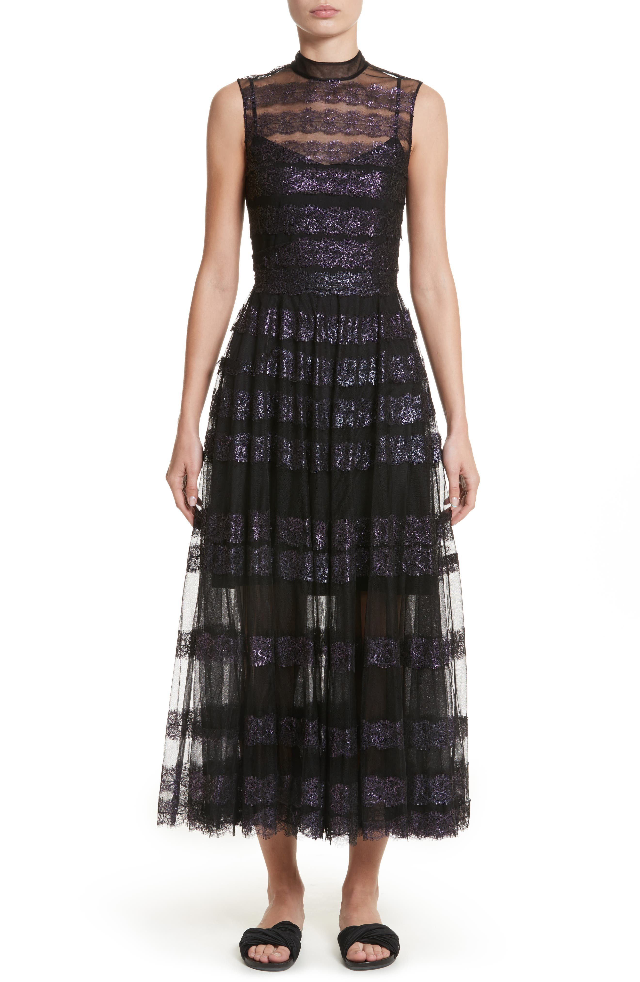 Foiled Lace & Tulle Dress,                         Main,                         color, Black