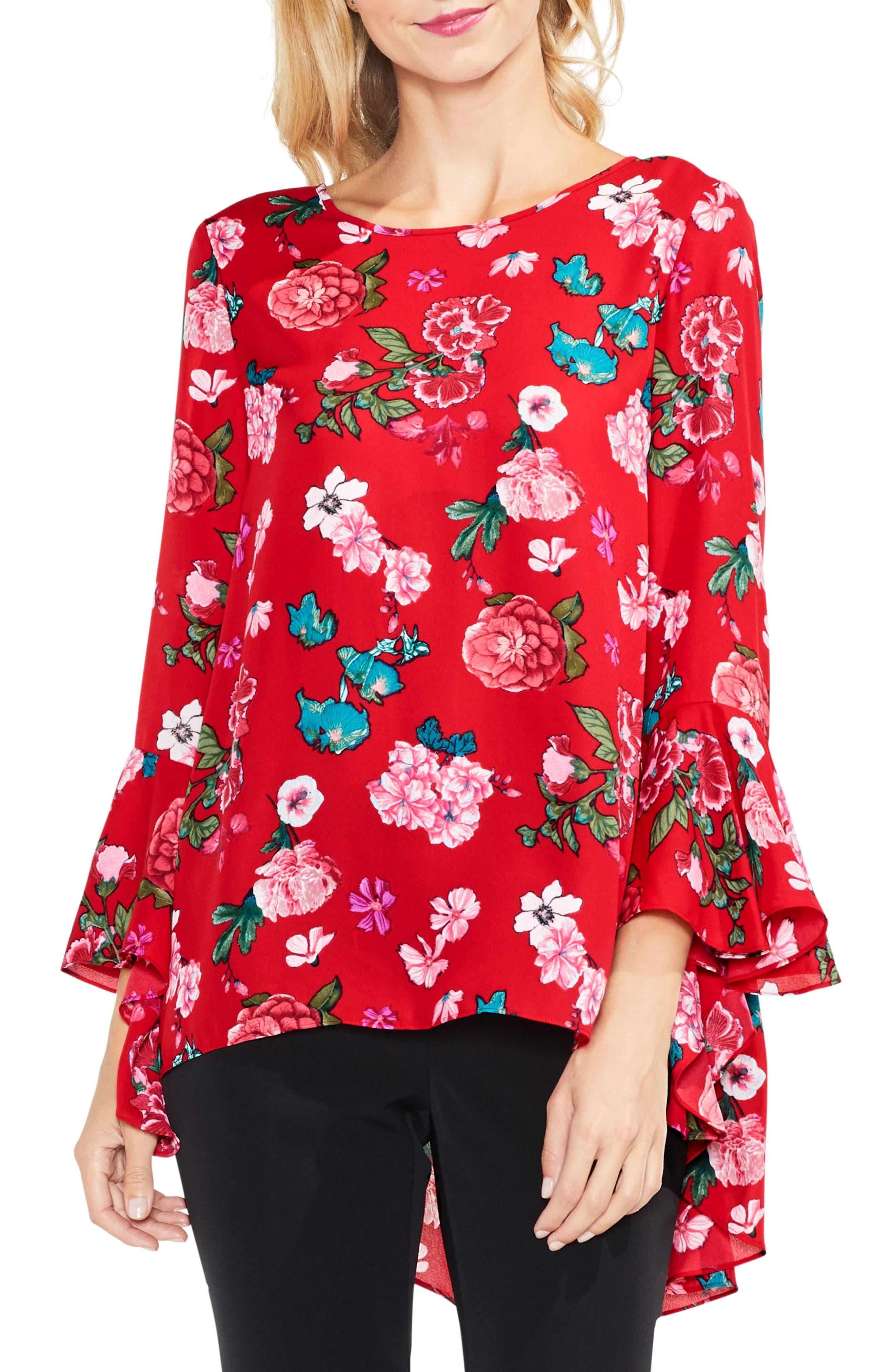 Floral Heirloom Bell Sleeve Top,                         Main,                         color, True Crimson