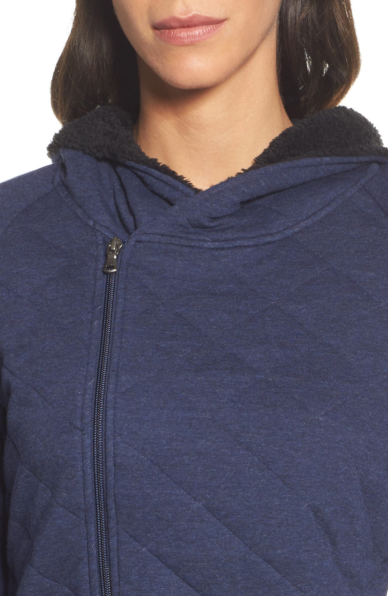Australia Faux Shearling Lined Hoodie,                             Alternate thumbnail 5, color,                             Navy Heather