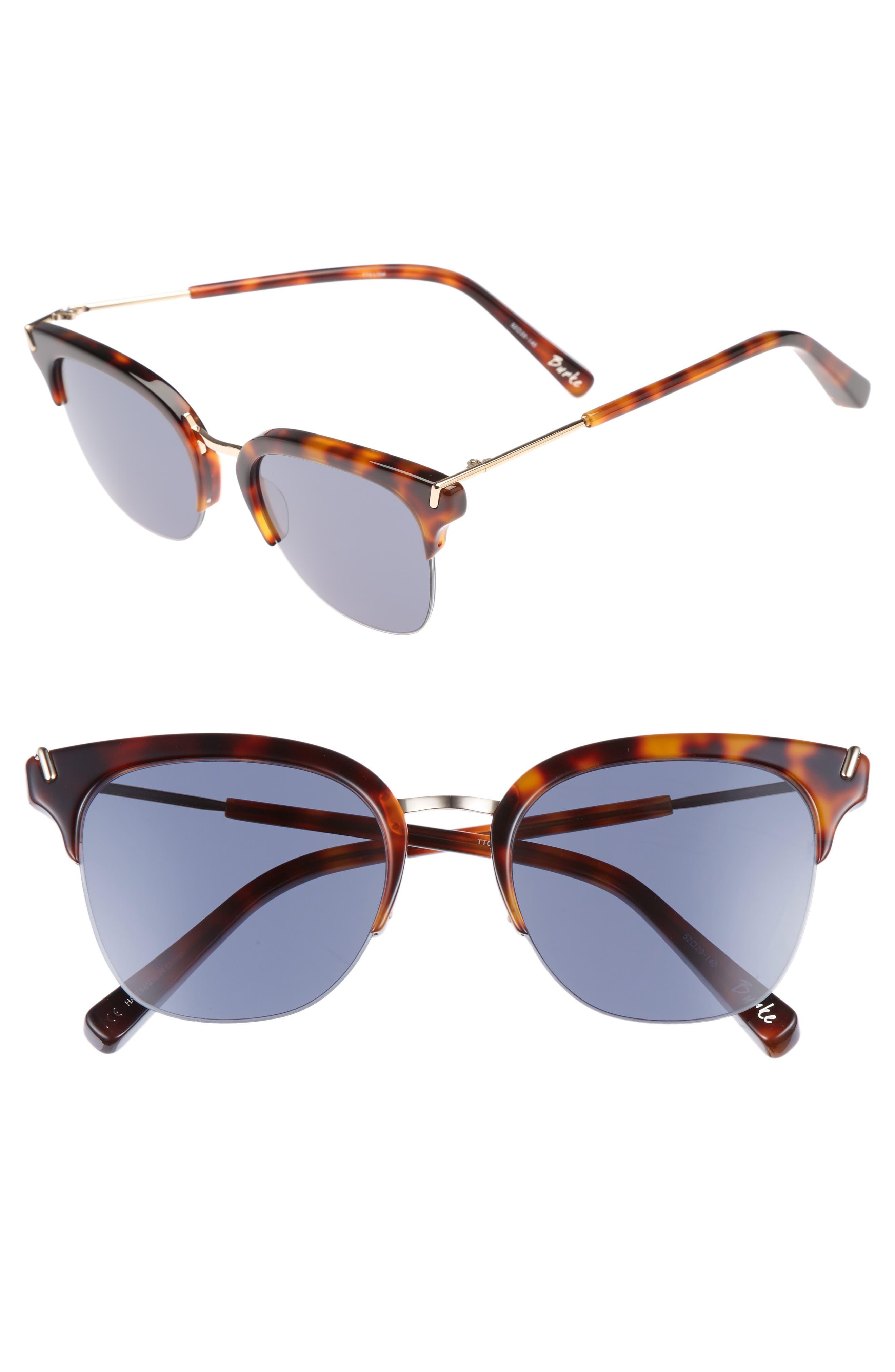 Burke 52mm Horn Rimmed Sunglasses,                         Main,                         color, Tortoise