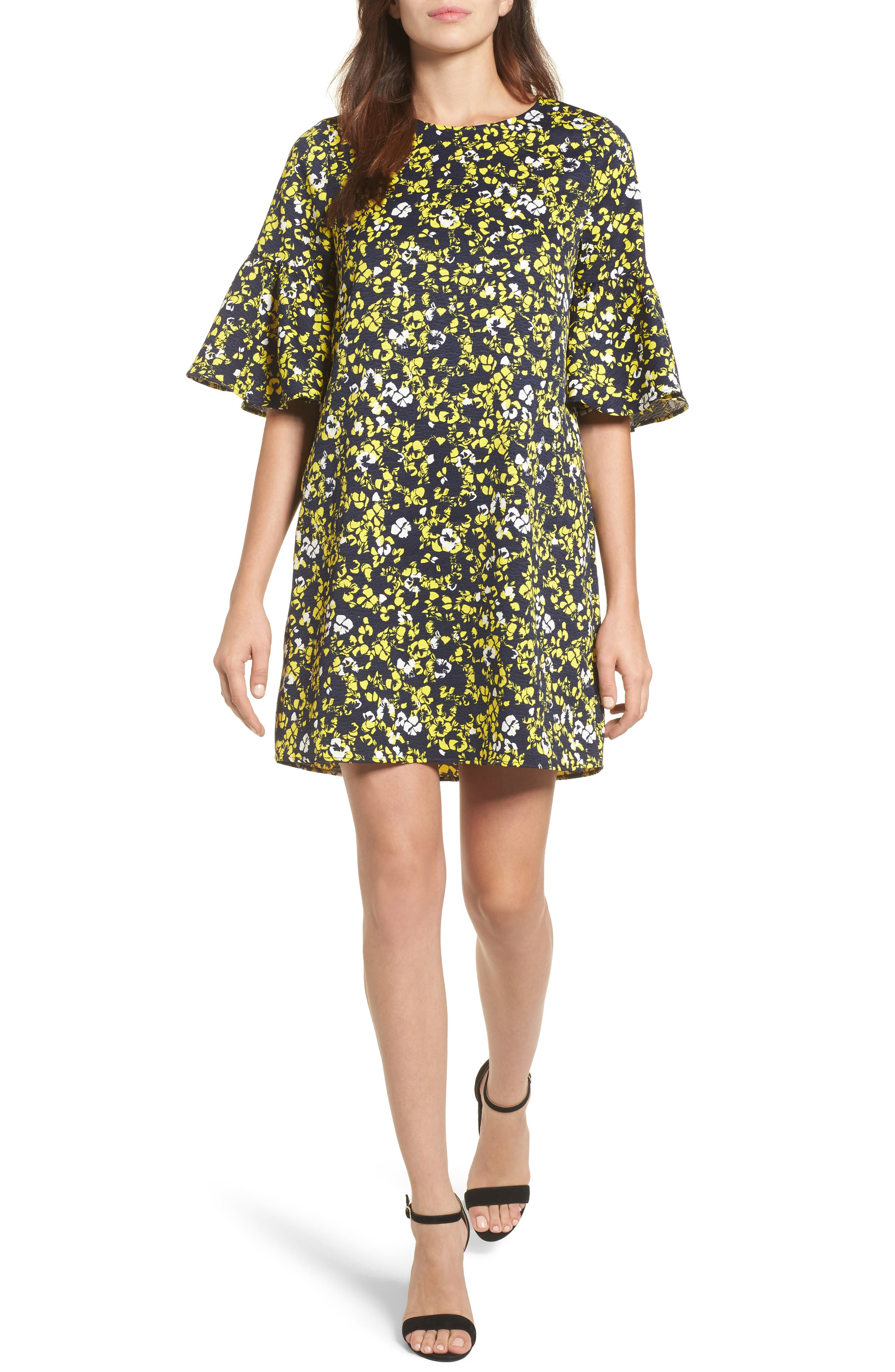 Ruffle Sleeve Shift Dress,                         Main,                         color, Navy- Yellow Floral