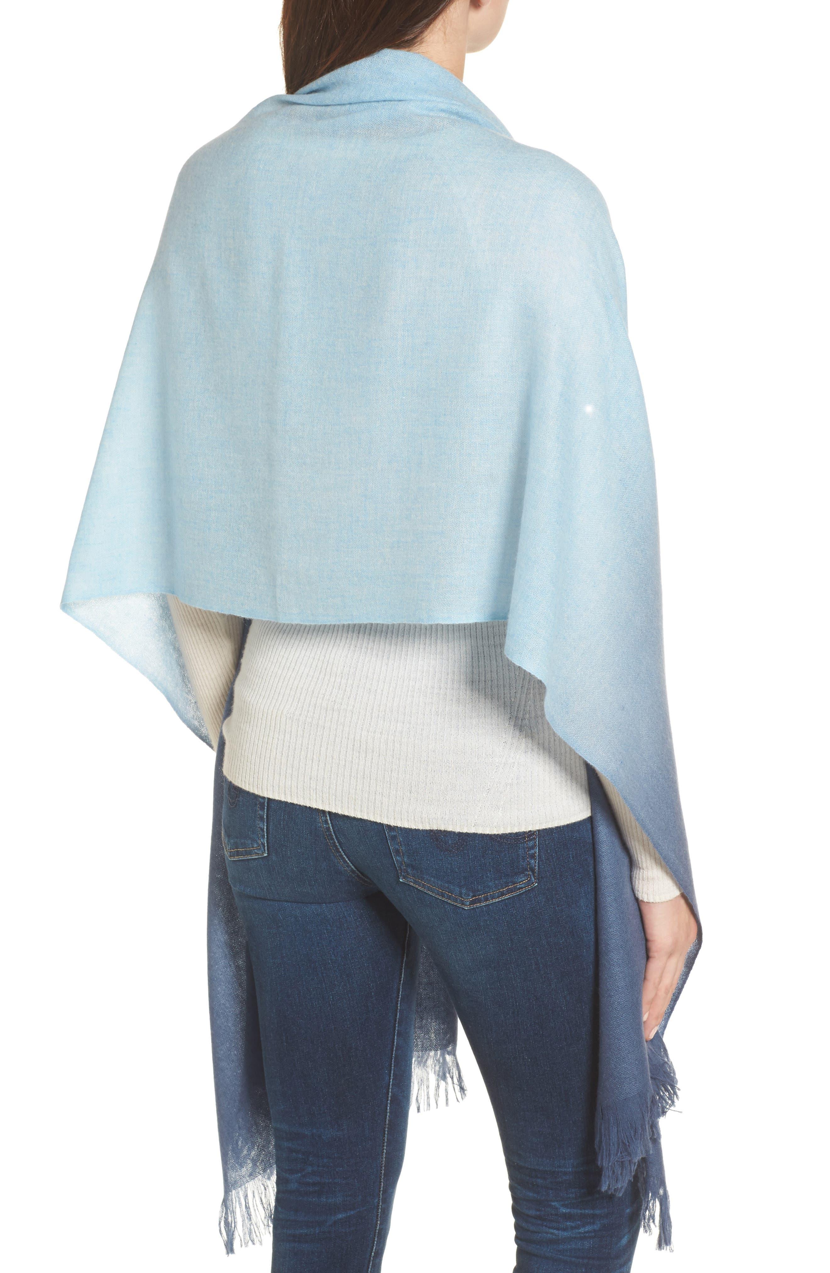 Caslon Dip Dye Cashmere Wrap,                             Alternate thumbnail 2, color,                             Blue Combo