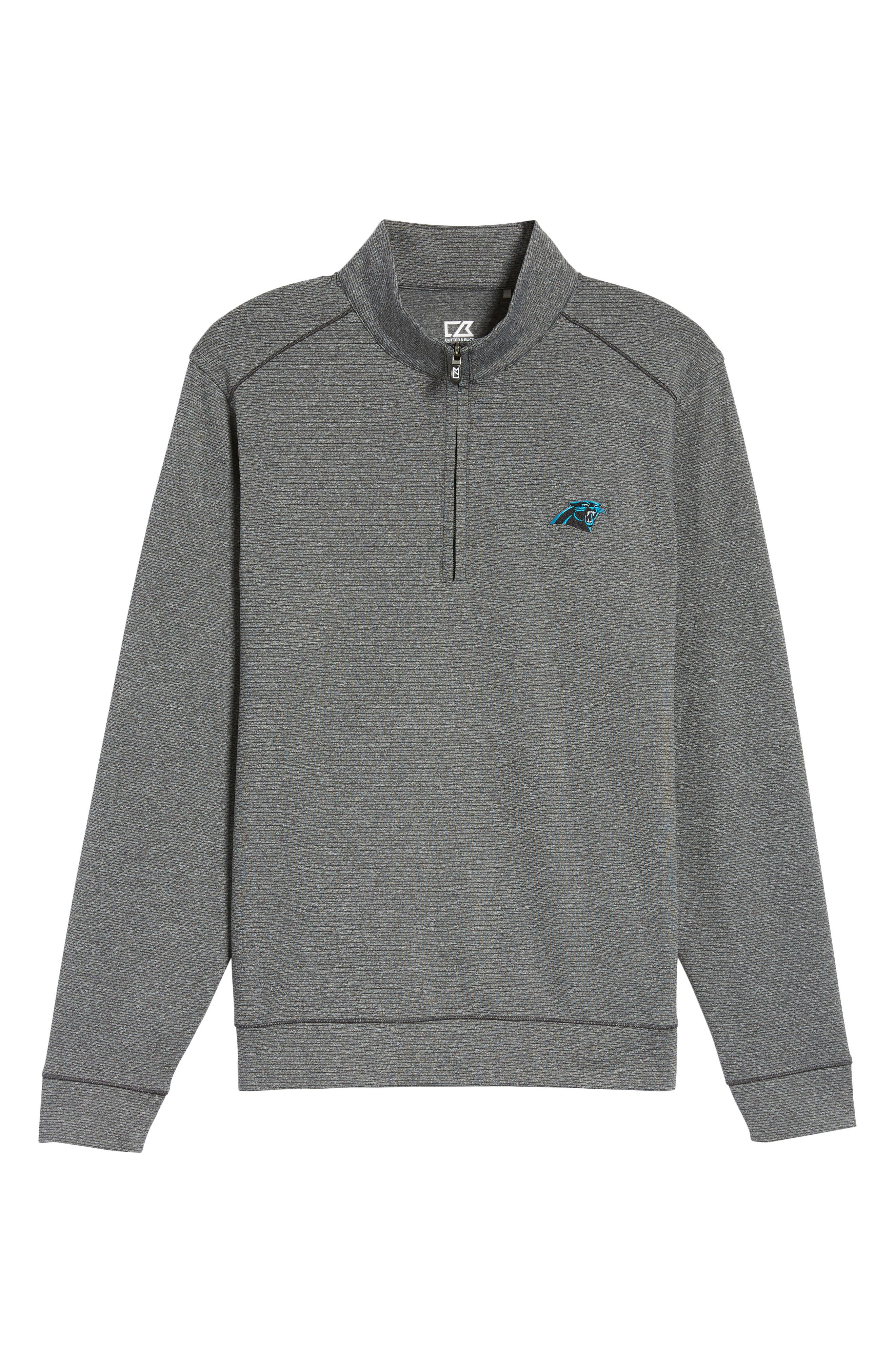 Shoreline - Carolina Panthers Half Zip Pullover,                             Alternate thumbnail 6, color,                             Charcoal Heather