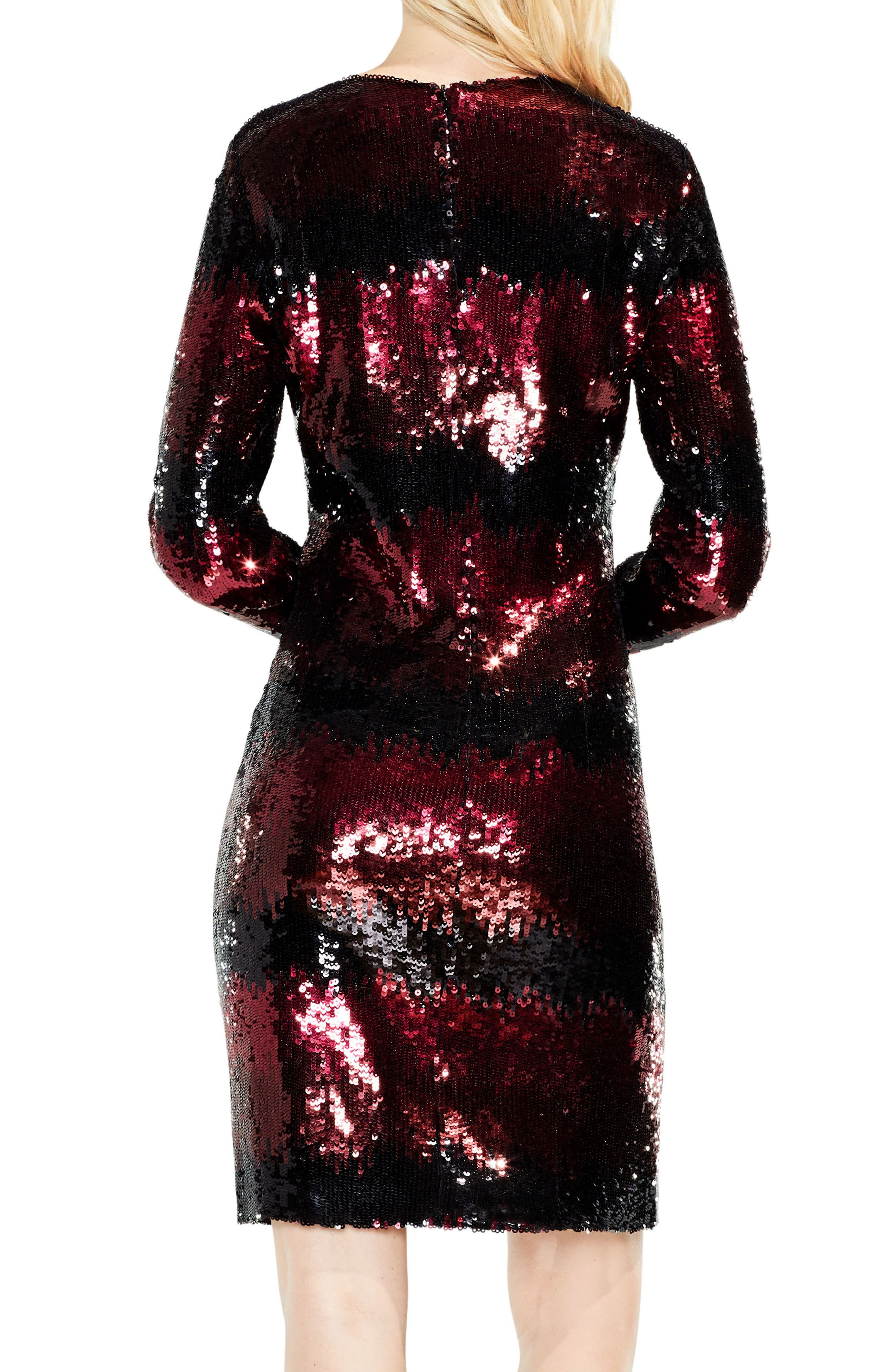 Ombré Sequin Dress,                             Alternate thumbnail 2, color,                             Cherry Noir