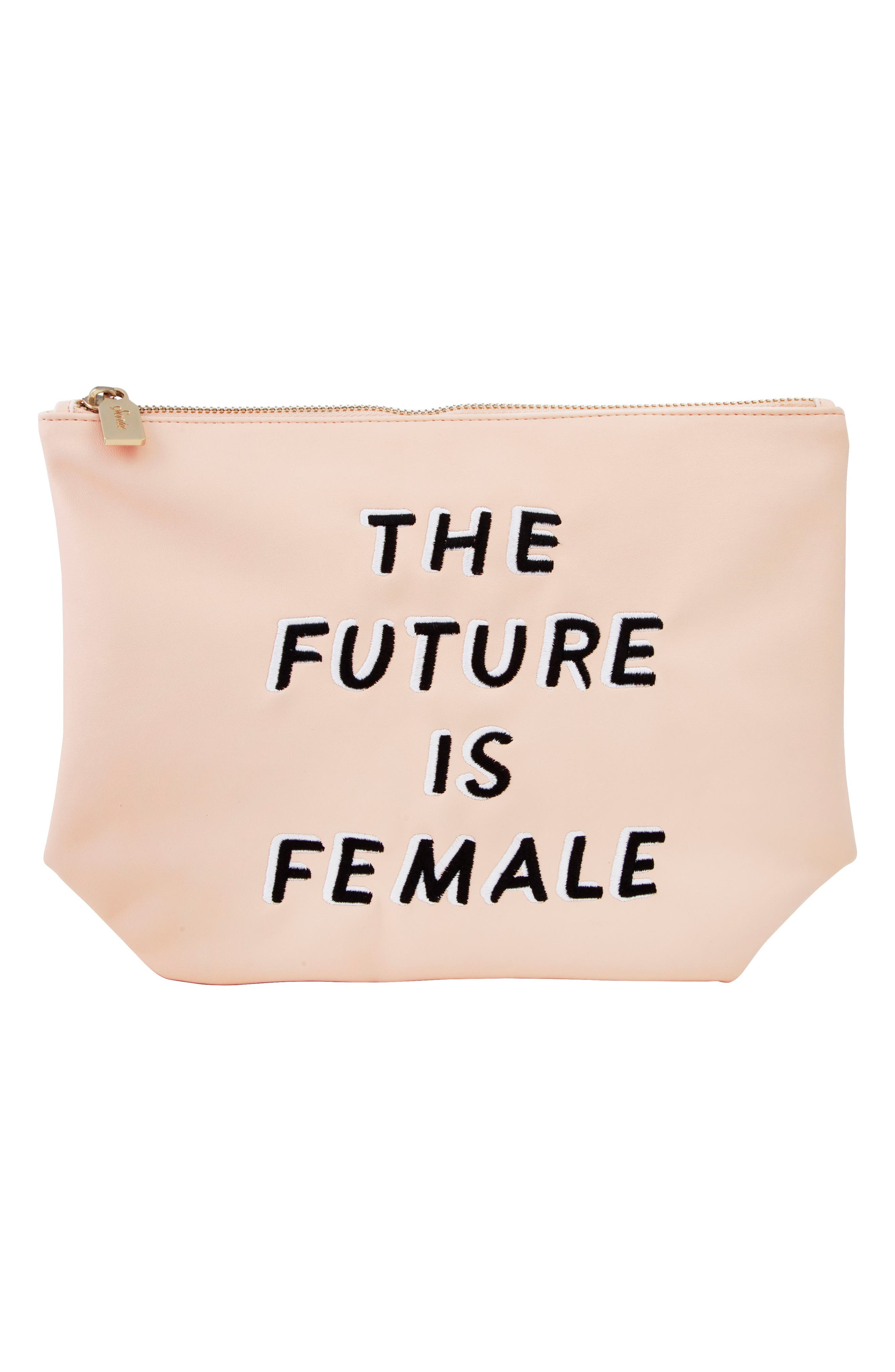 The Future is Female Faux Leather Everyday Pouch,                             Main thumbnail 1, color,                             Peach