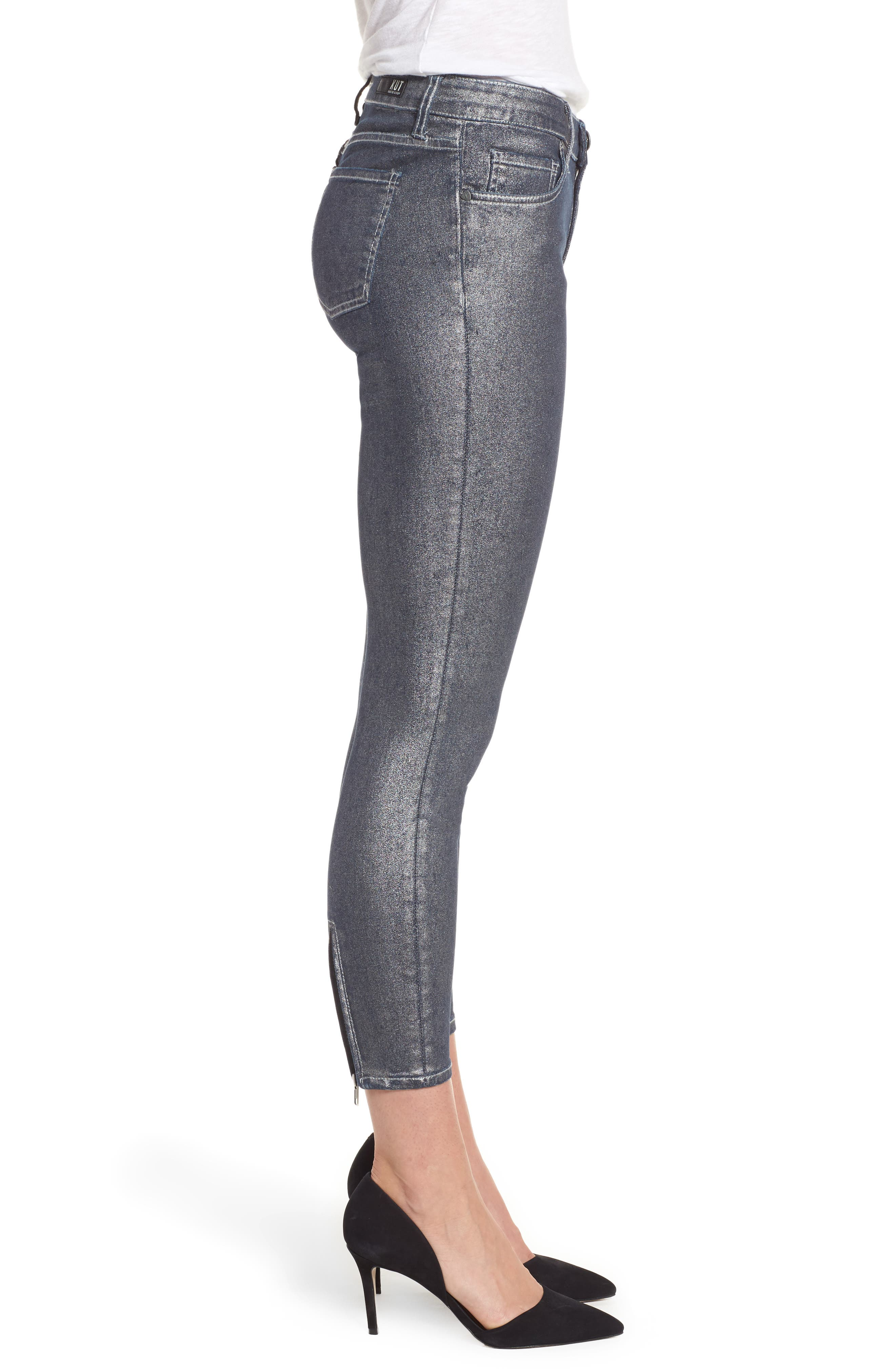 Alternate Image 3  - KUT from the Kloth Connie Ankle Zipper Jeans (Silver) (Regular & Petite)