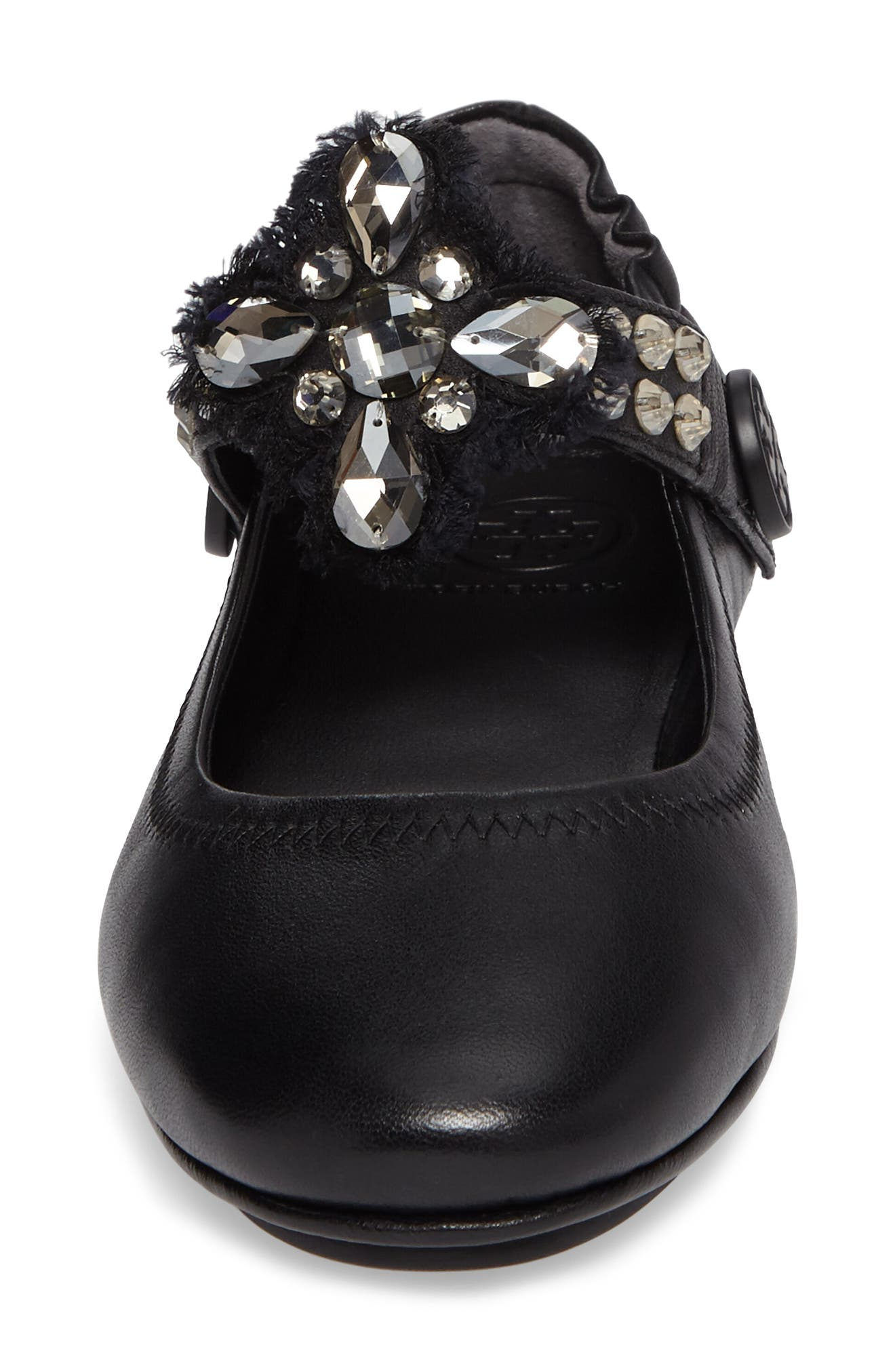 Minnie Embellished Convertible Strap Ballet Flat,                             Alternate thumbnail 4, color,                             Black/ Clear