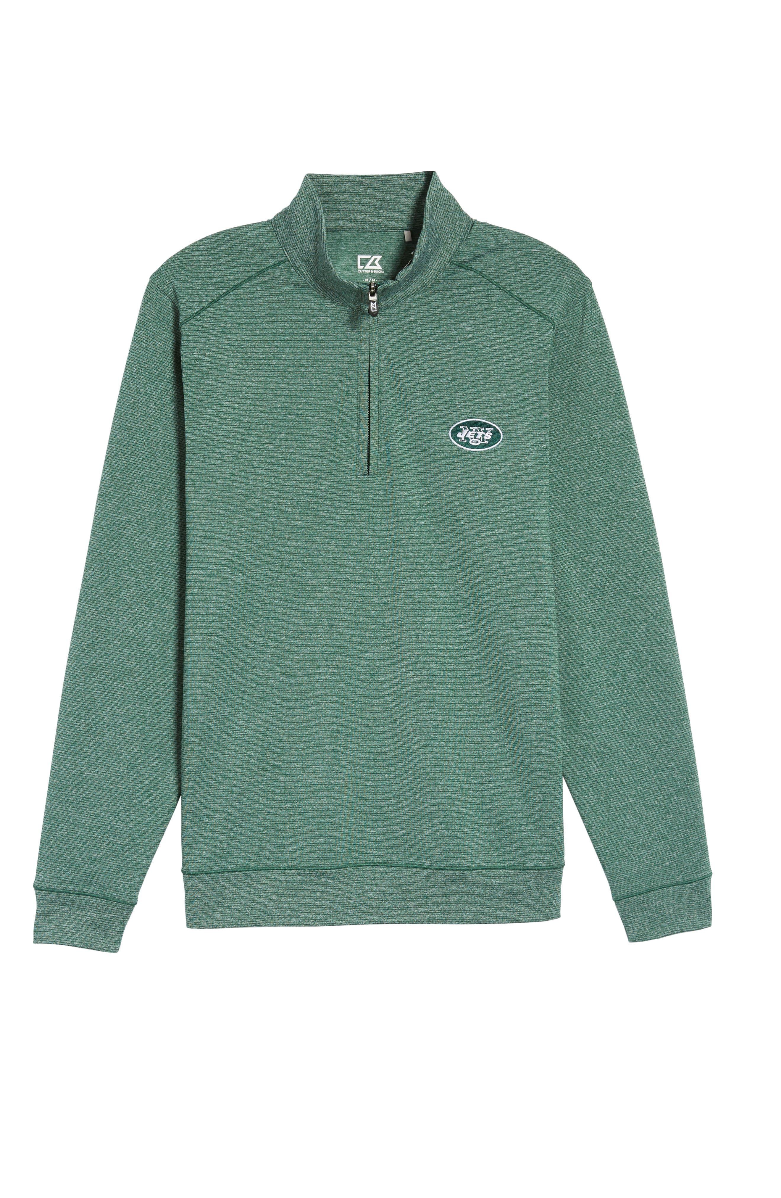 Shoreline - New York Jets Half Zip Pullover,                             Alternate thumbnail 6, color,                             Hunter Heather