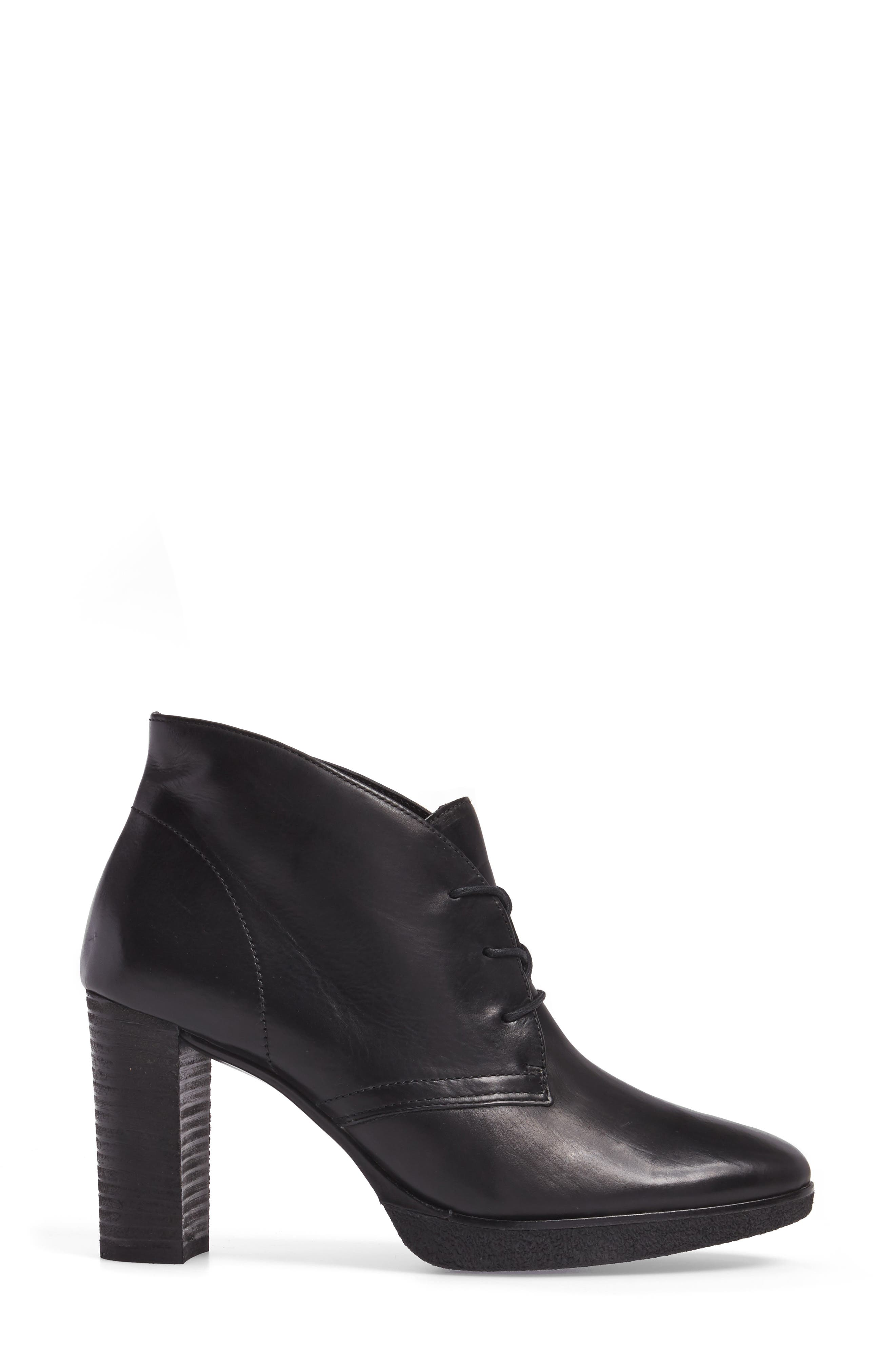Ophelia Lace-Up Bootie,                             Alternate thumbnail 3, color,                             Black Leather