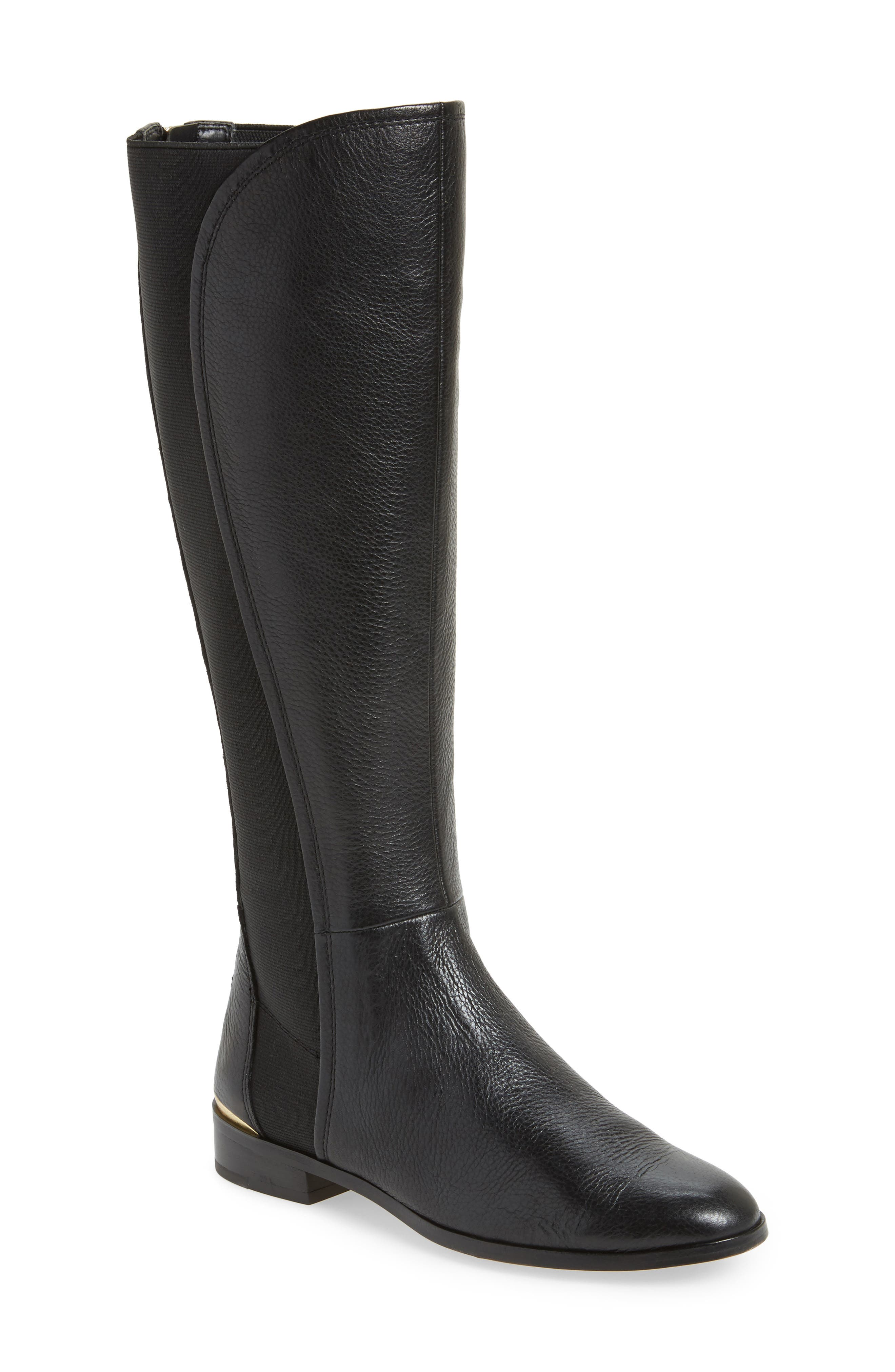 Vallery Elastic Back Knee High Boot,                             Main thumbnail 1, color,                             Black Nappa Leather