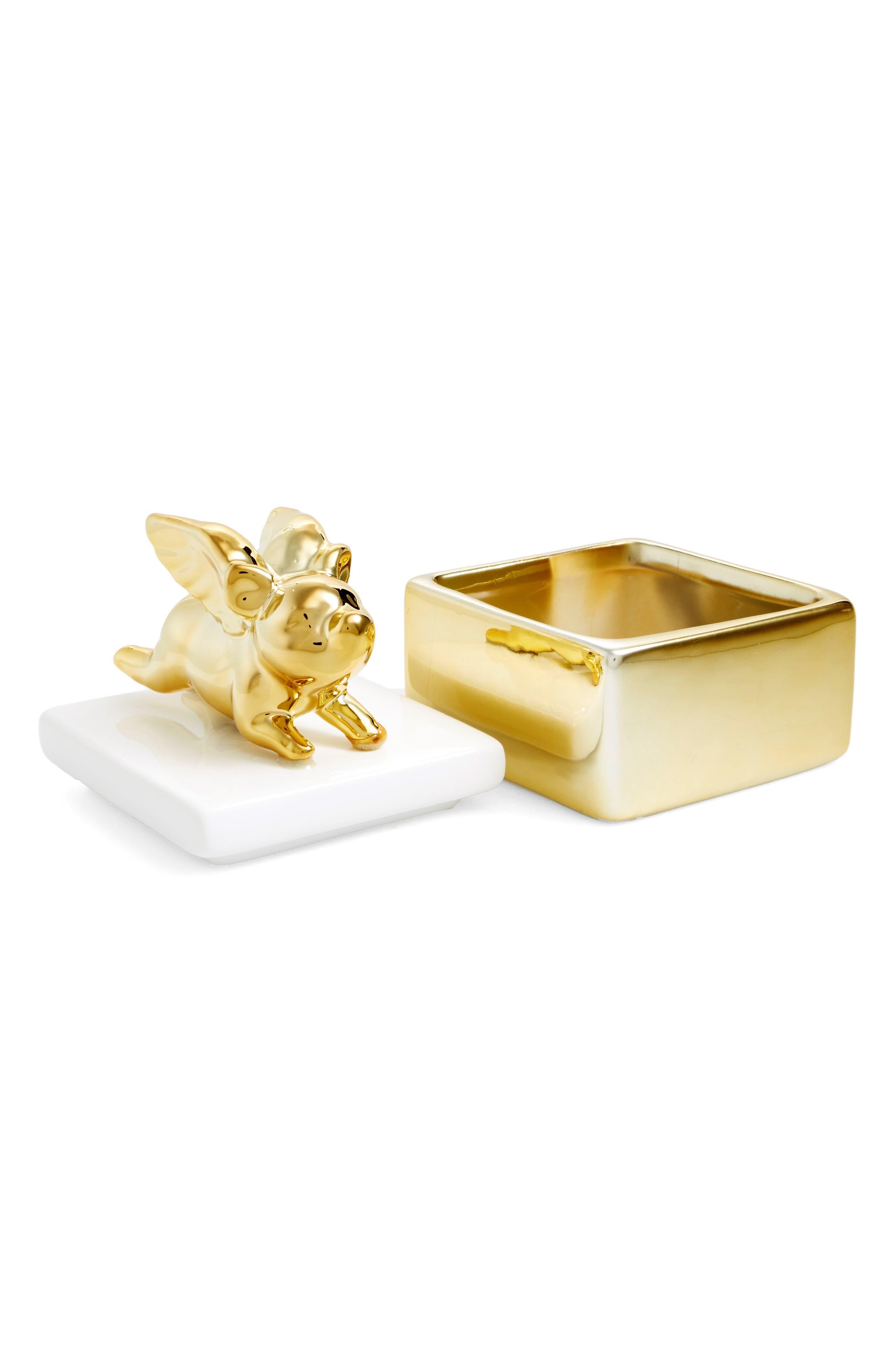 Flying Pig Trinket Box,                             Alternate thumbnail 2, color,                             Gold