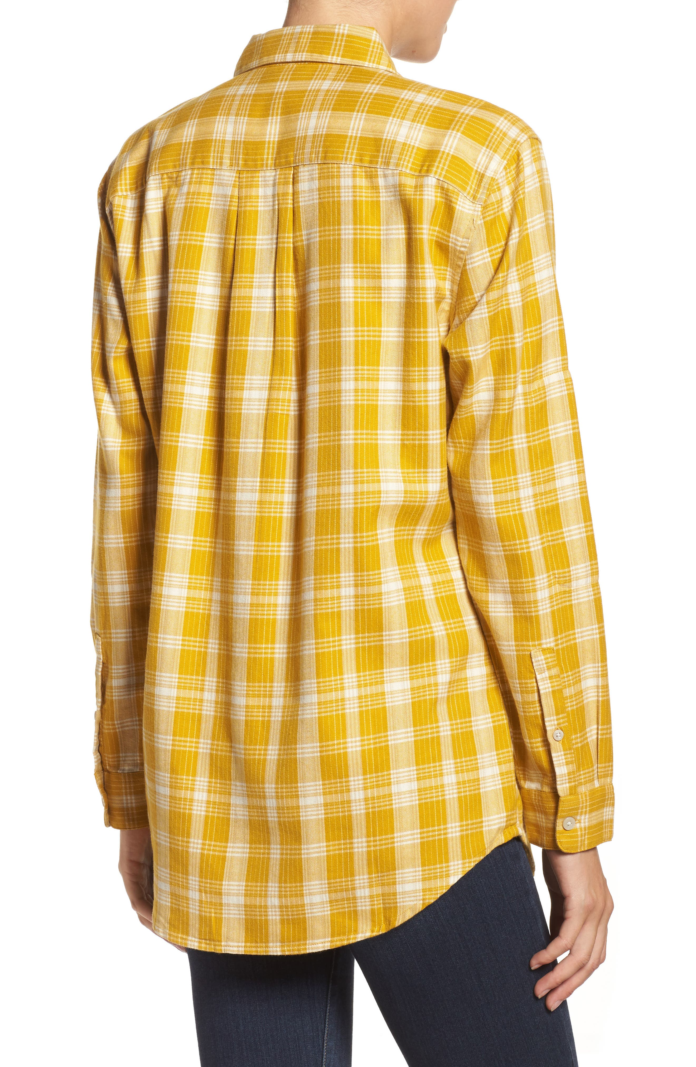 Boyfriend Shirt,                             Alternate thumbnail 2, color,                             Arrowwood Yellow Plaid
