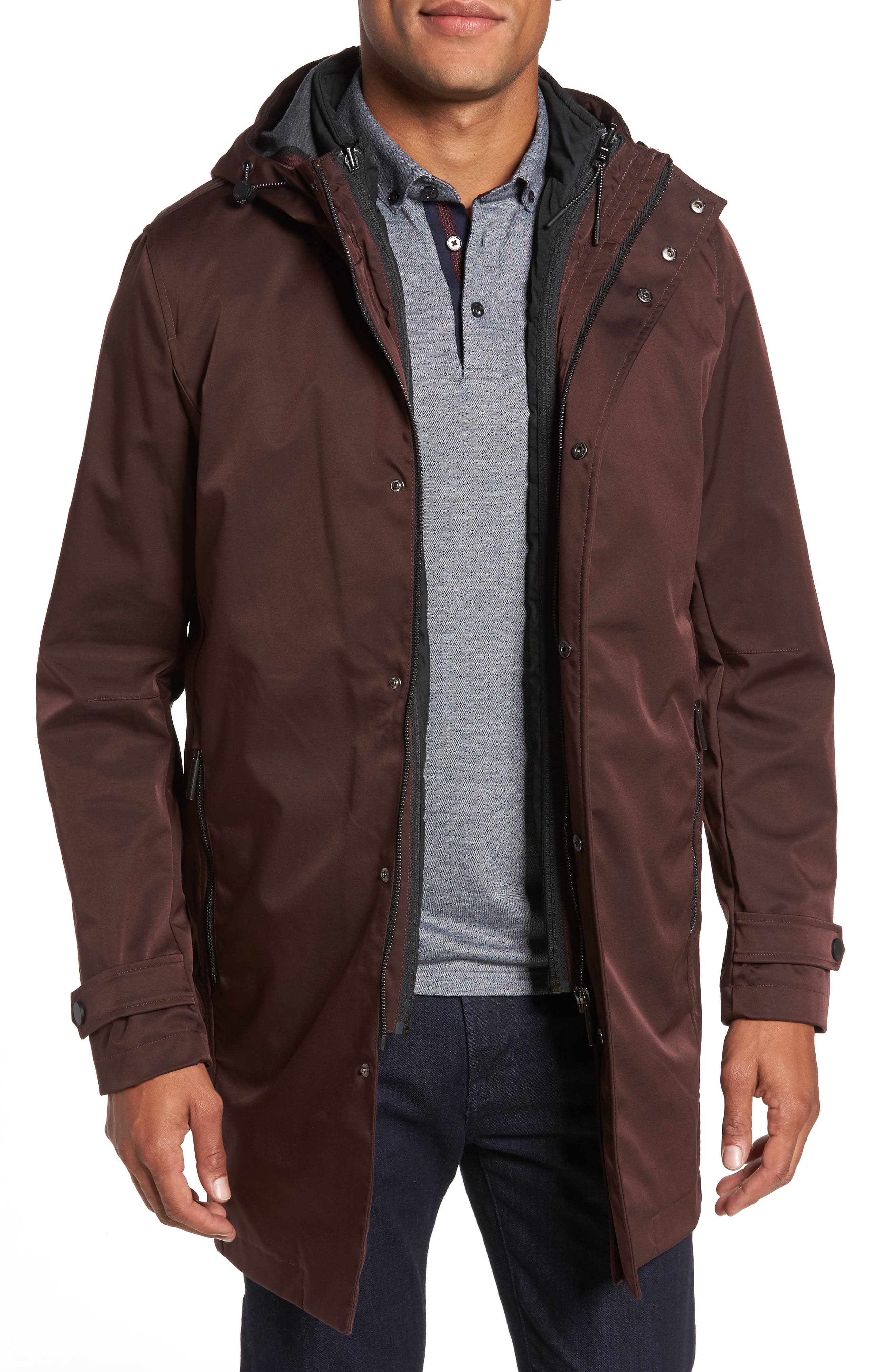 Ted Baker London Longline Raincoat with Zip Out Vest