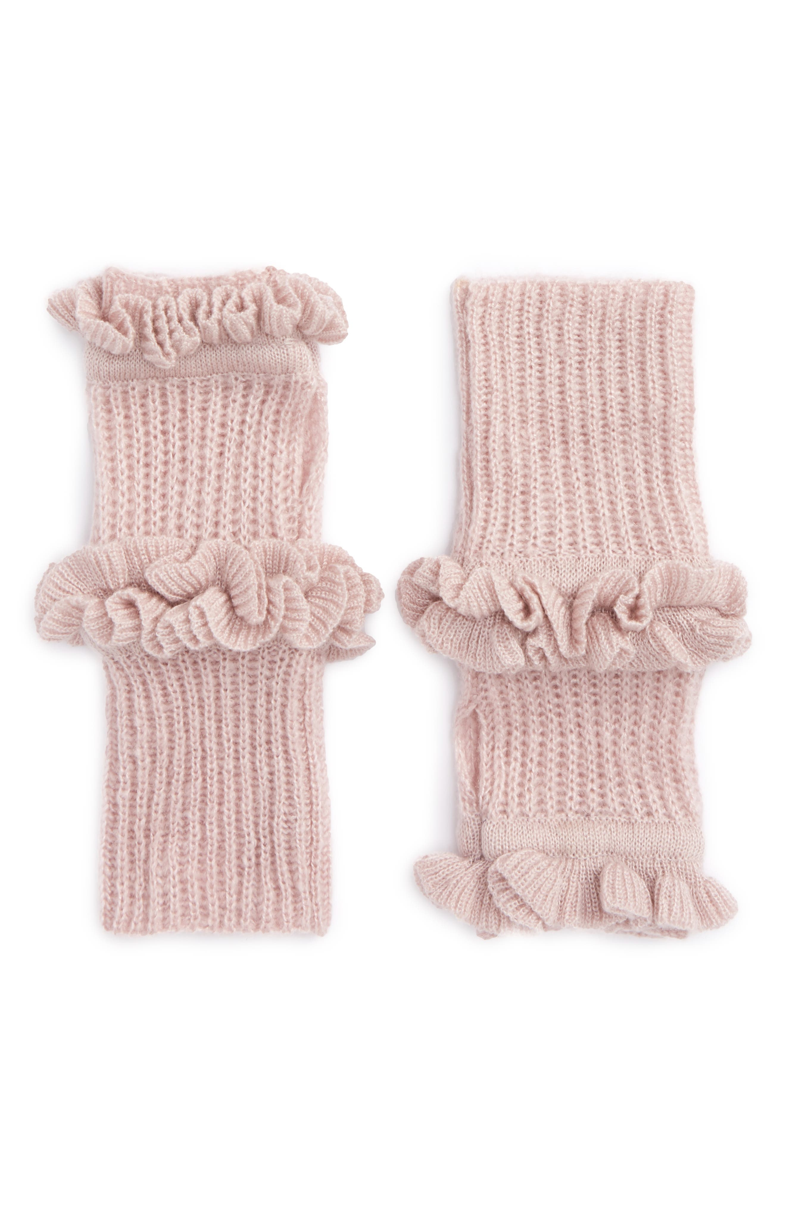 Ruffle Fingerless Gloves,                         Main,                         color, Pale Pink