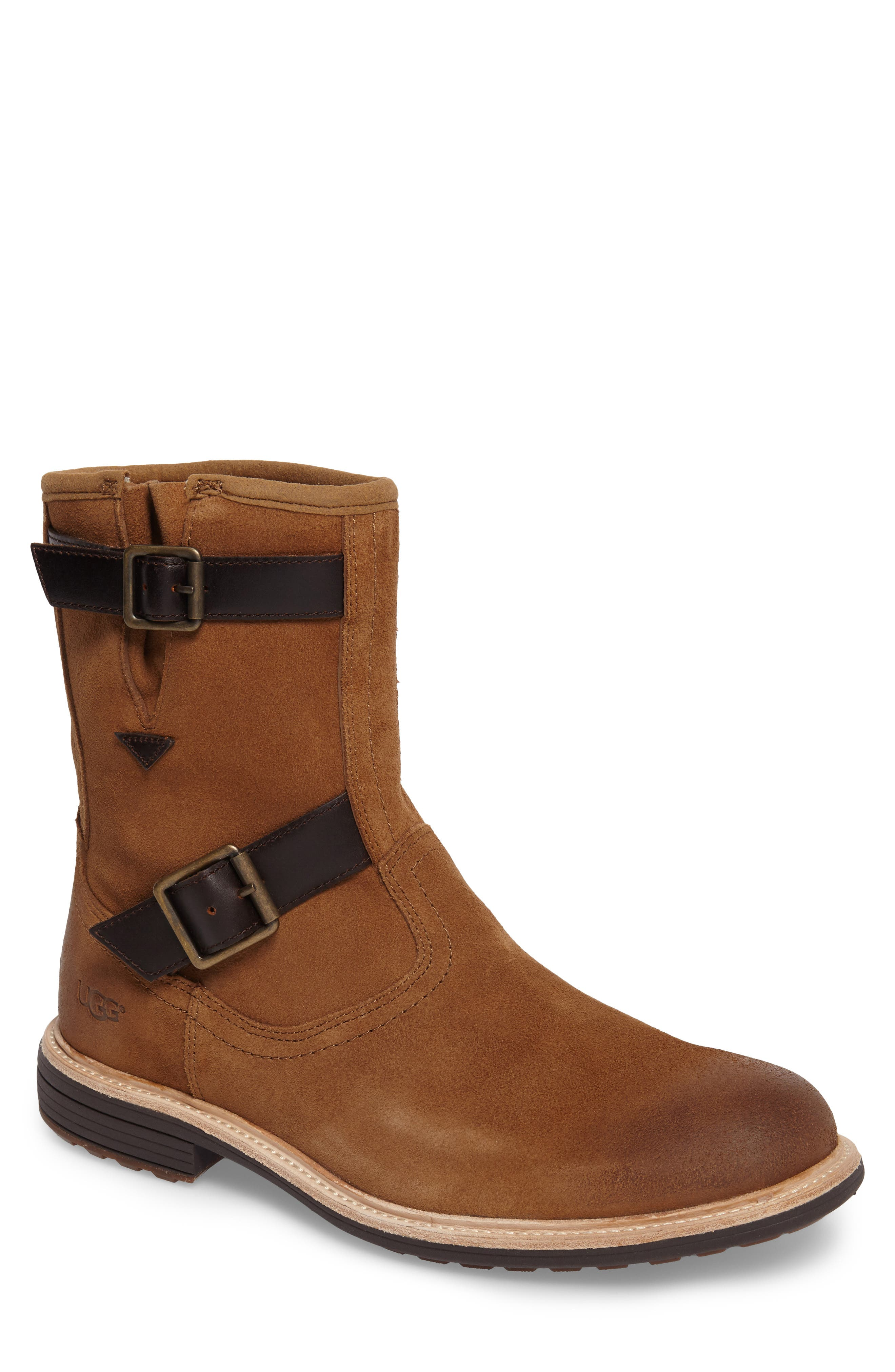 Jaren Zip Boot with Genuine Shearling,                         Main,                         color, Chestnut